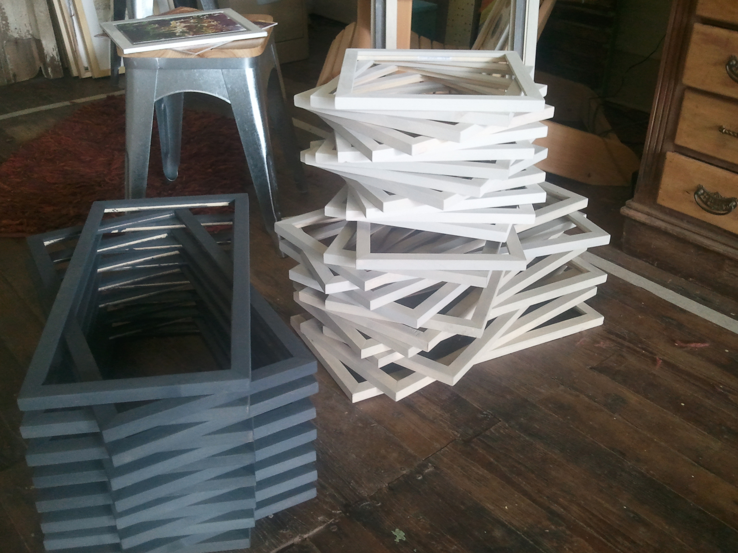 Frames made by Crossroads Distributers in Jackson and stained by my trusty studio assistant, Kory.
