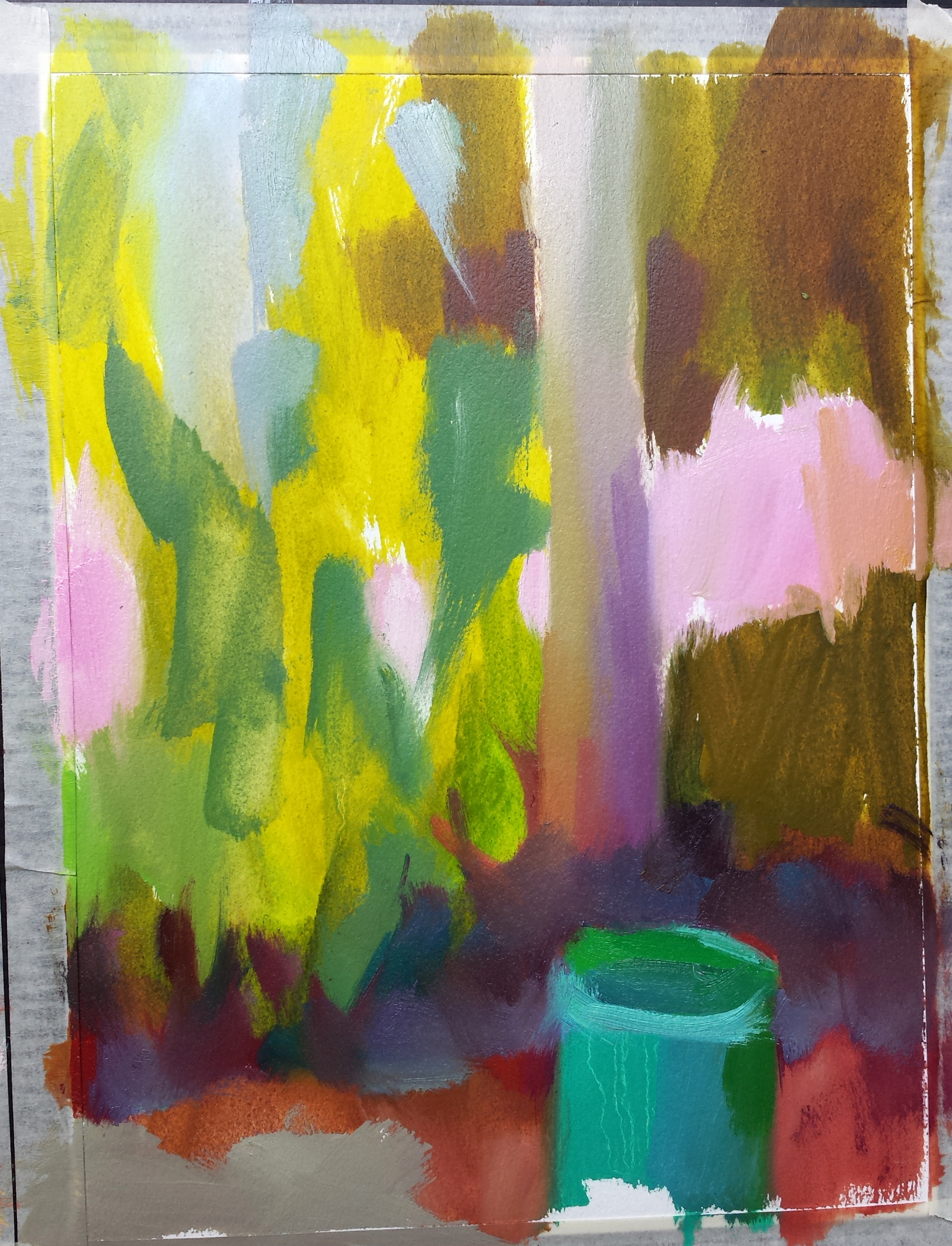 day one....fighting to keep it shapes and mystery. It's trying to become a painting of known objects.