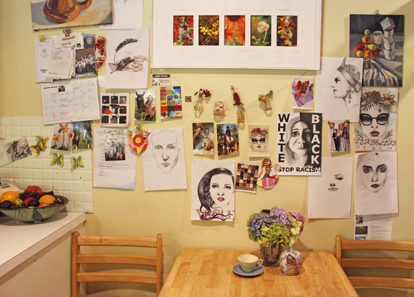 Bella's drawings in the kitchen