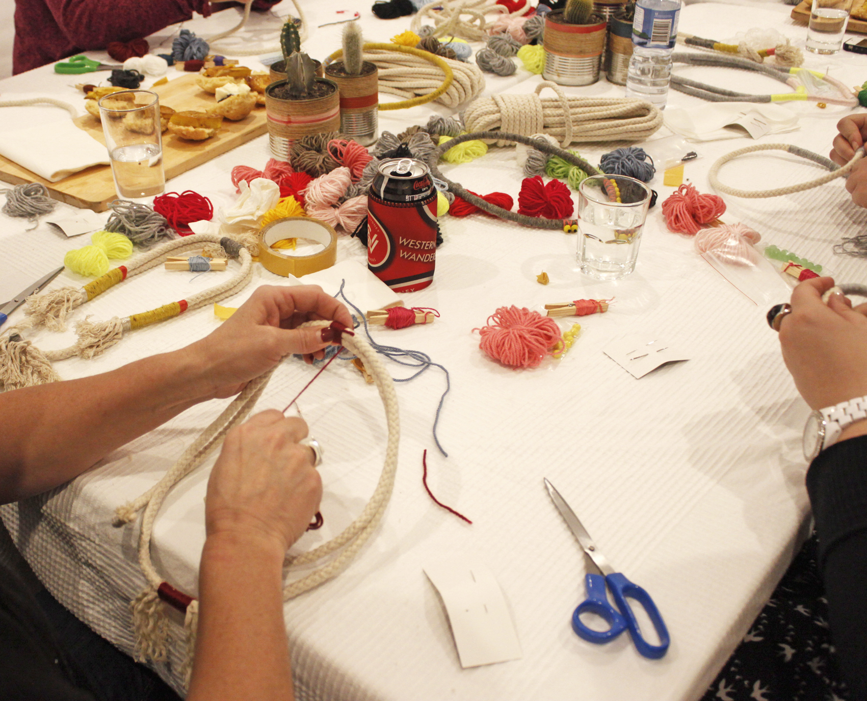 DIY Nautical Rope Necklace Workshop, The Corner Store Gallery, Orange NSW, craft party, photograph by Madeline Young
