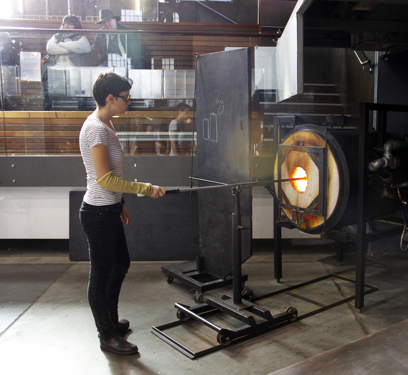 This is the glory hole the glass is kept hot at 1200 degrees celsius.