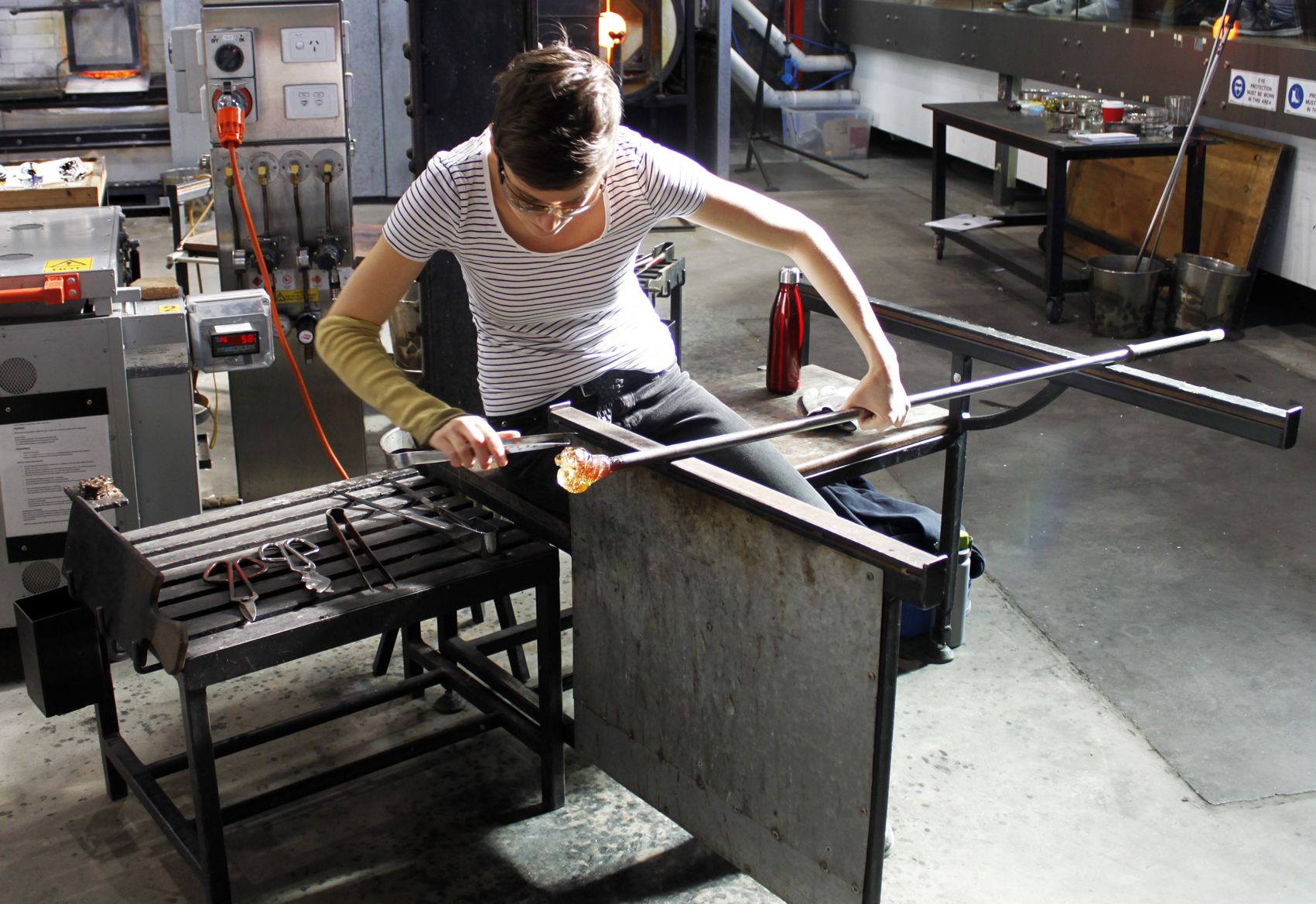 Australian artist, glass sculptor studio visit - Emilie Patteson, Canberra Glassworks, The Corner Store Gallery, photograph by Madeline Young