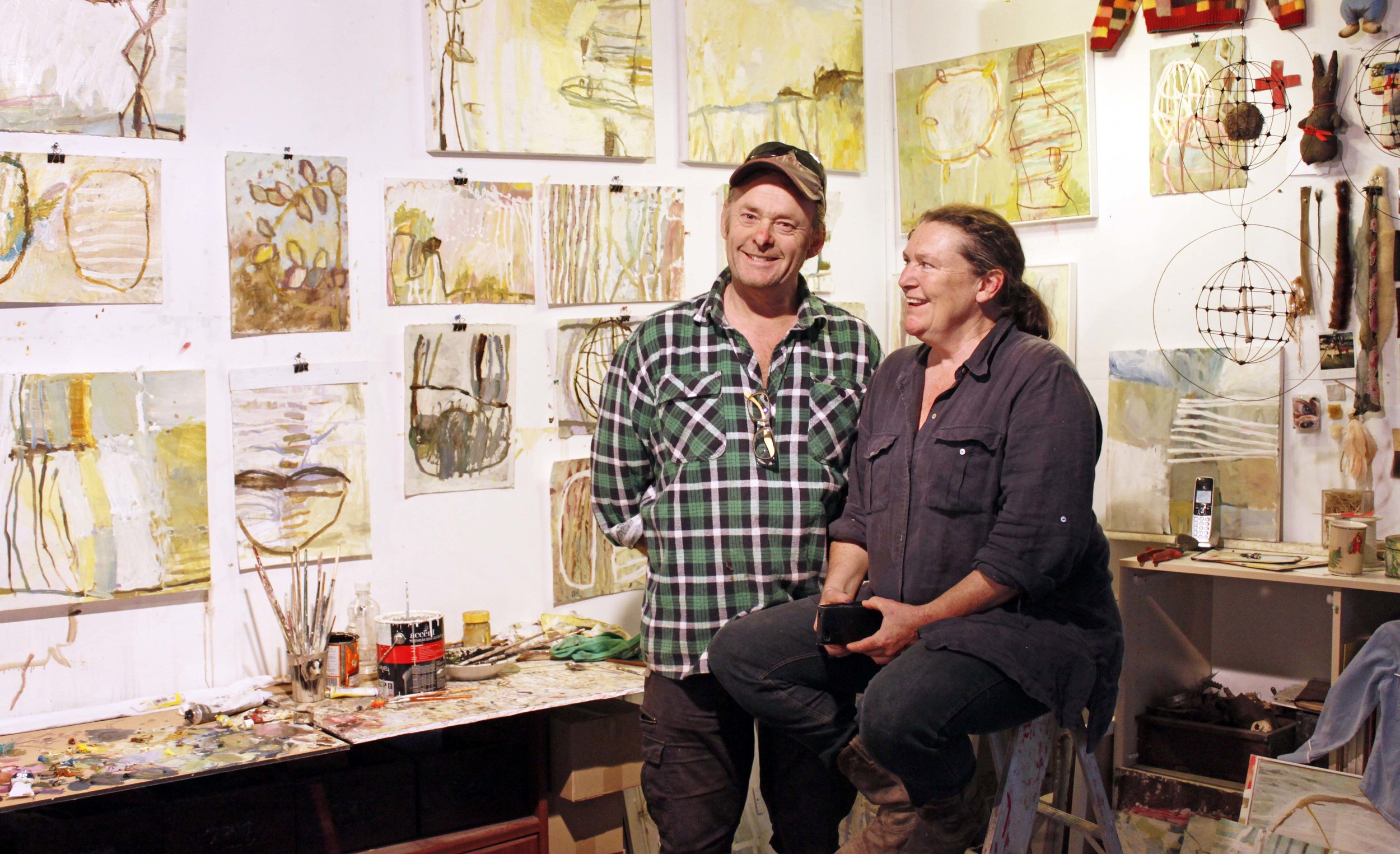Australian artist studio visit, contemporary Australian artist, Jaq Davies & Glenn Hoyle, The Corner Store Gallery, photograph by Madeline Young
