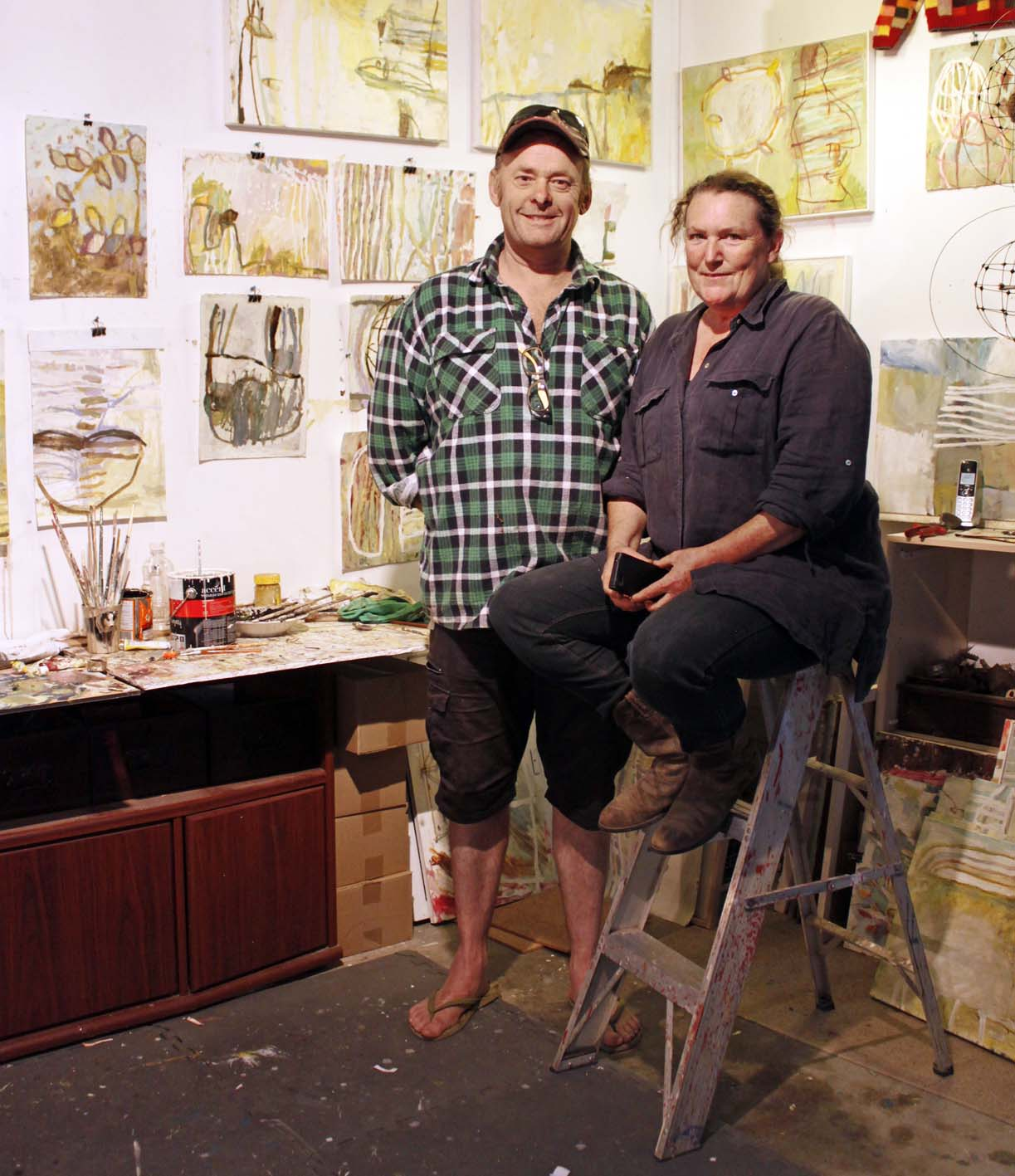 Australian artist studio visit, Jaq Davies and Glenn Hoyle, The Corner Store Gallery, photograph by Madeline Young