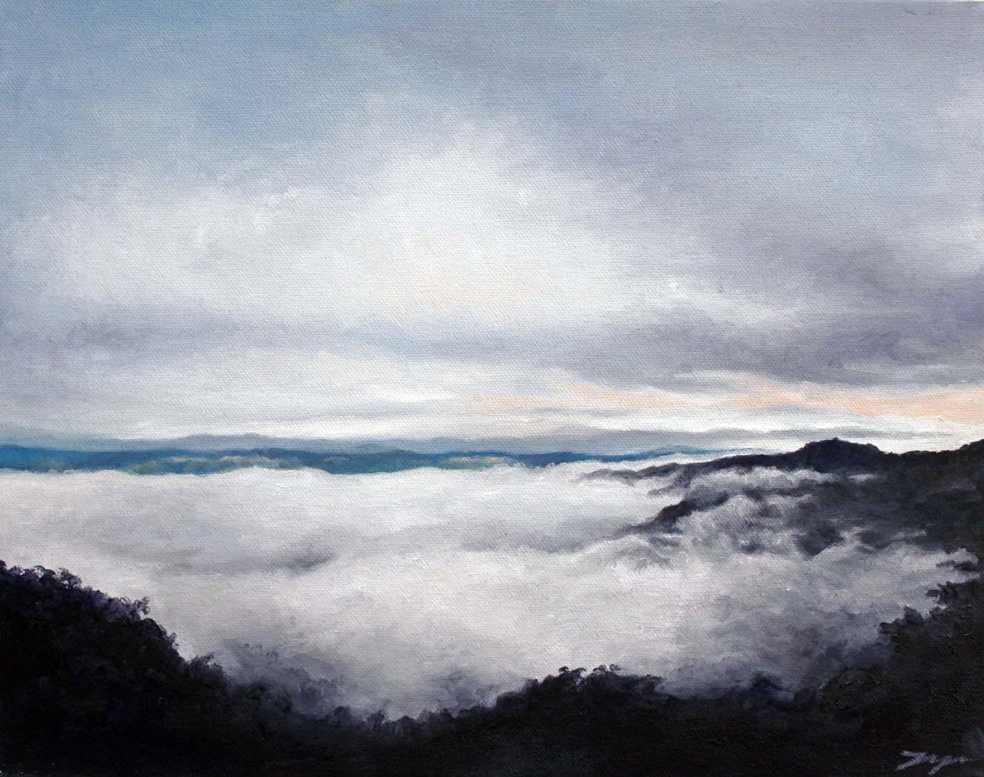 Jahne Meyer,  Mist Over Megalong , oil on canvas
