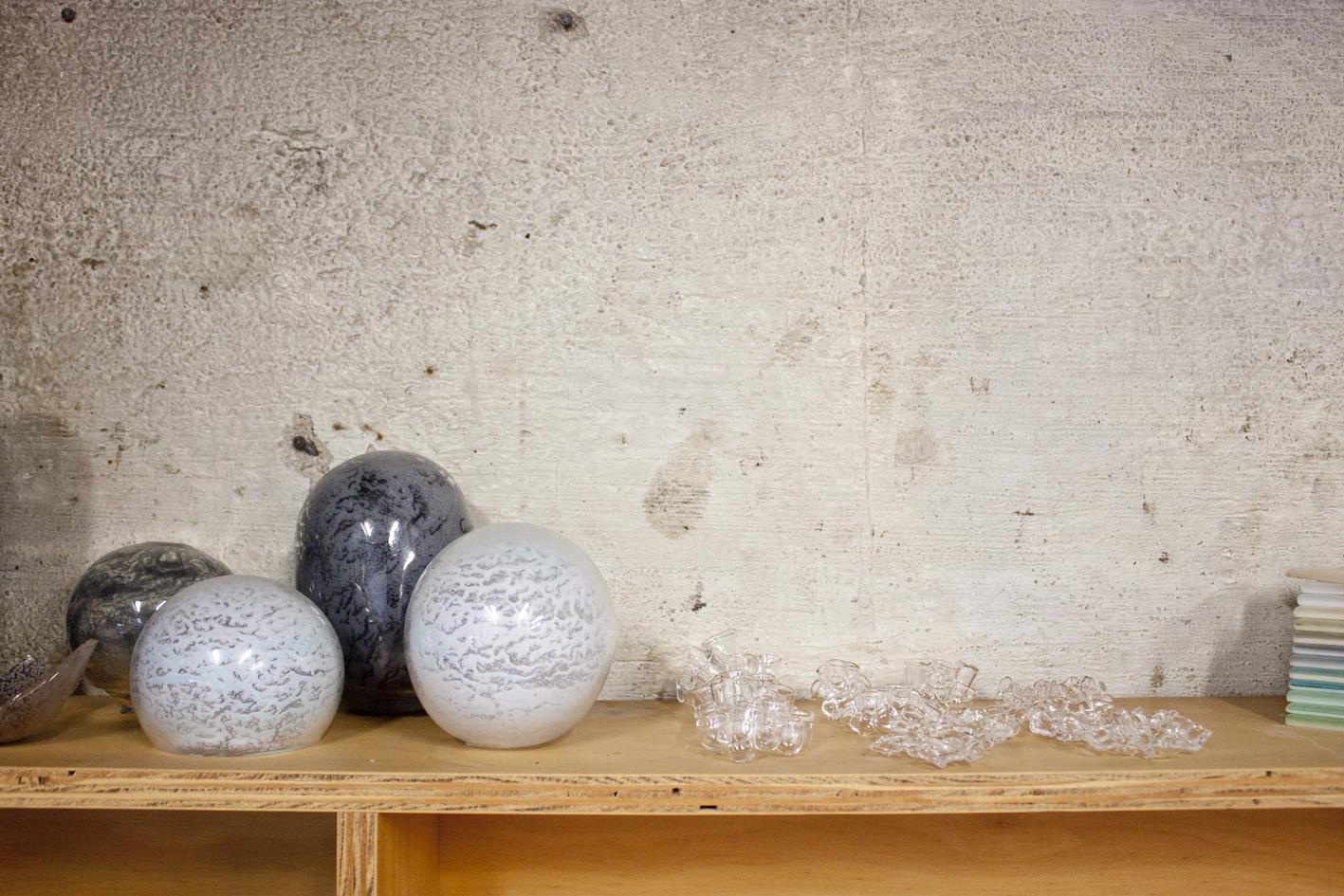 Shelves holding Christine's new work