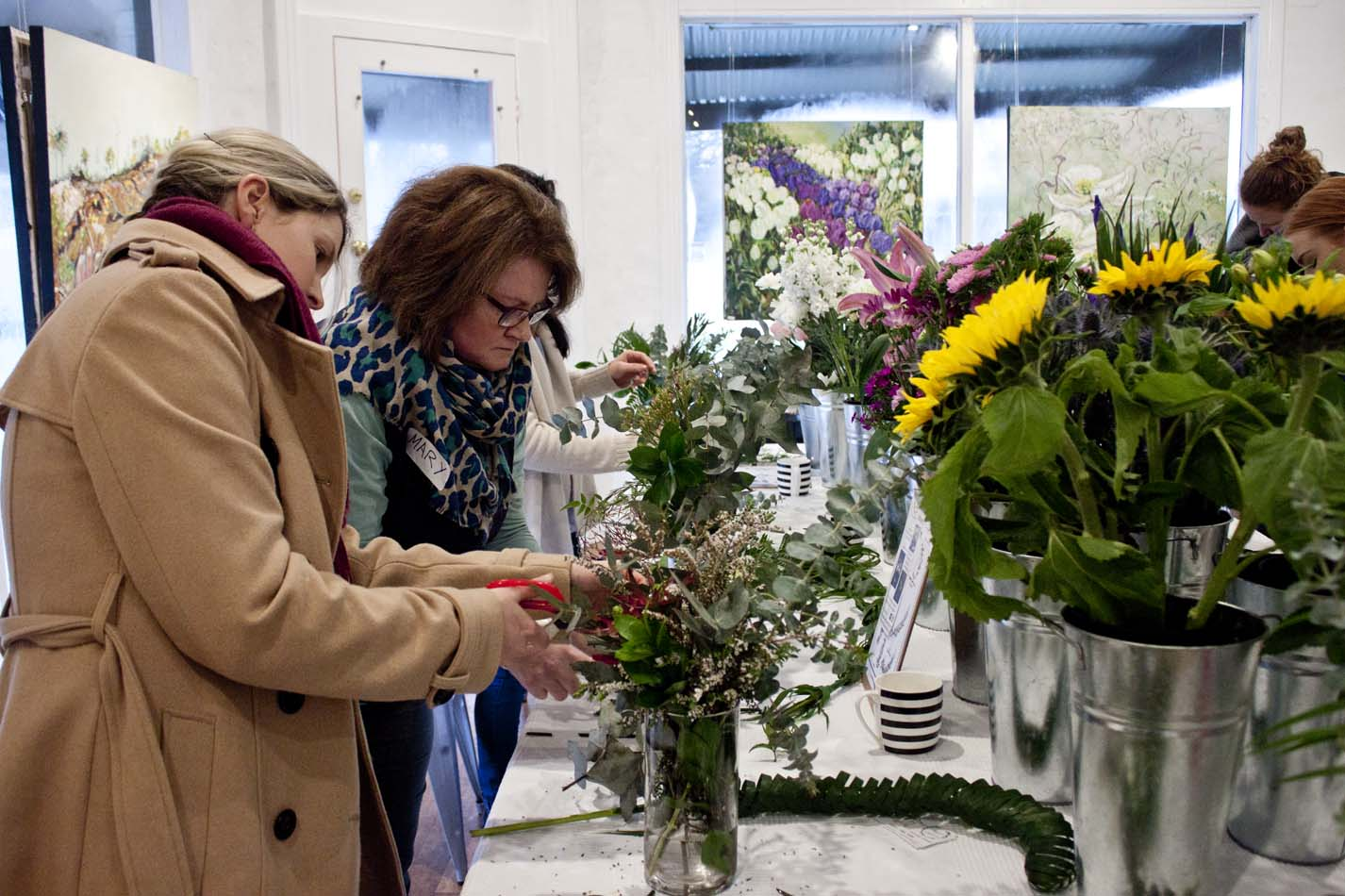Flower Arranging Workshop Megan Claire Floral Design - The Corner Store Gallery, photograph by Madeline Young
