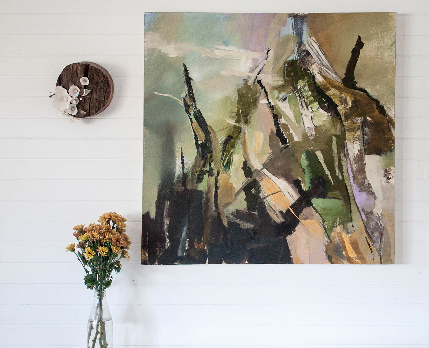 Painting by  Nicole Chaffey , ceramic art by  Amy Hick