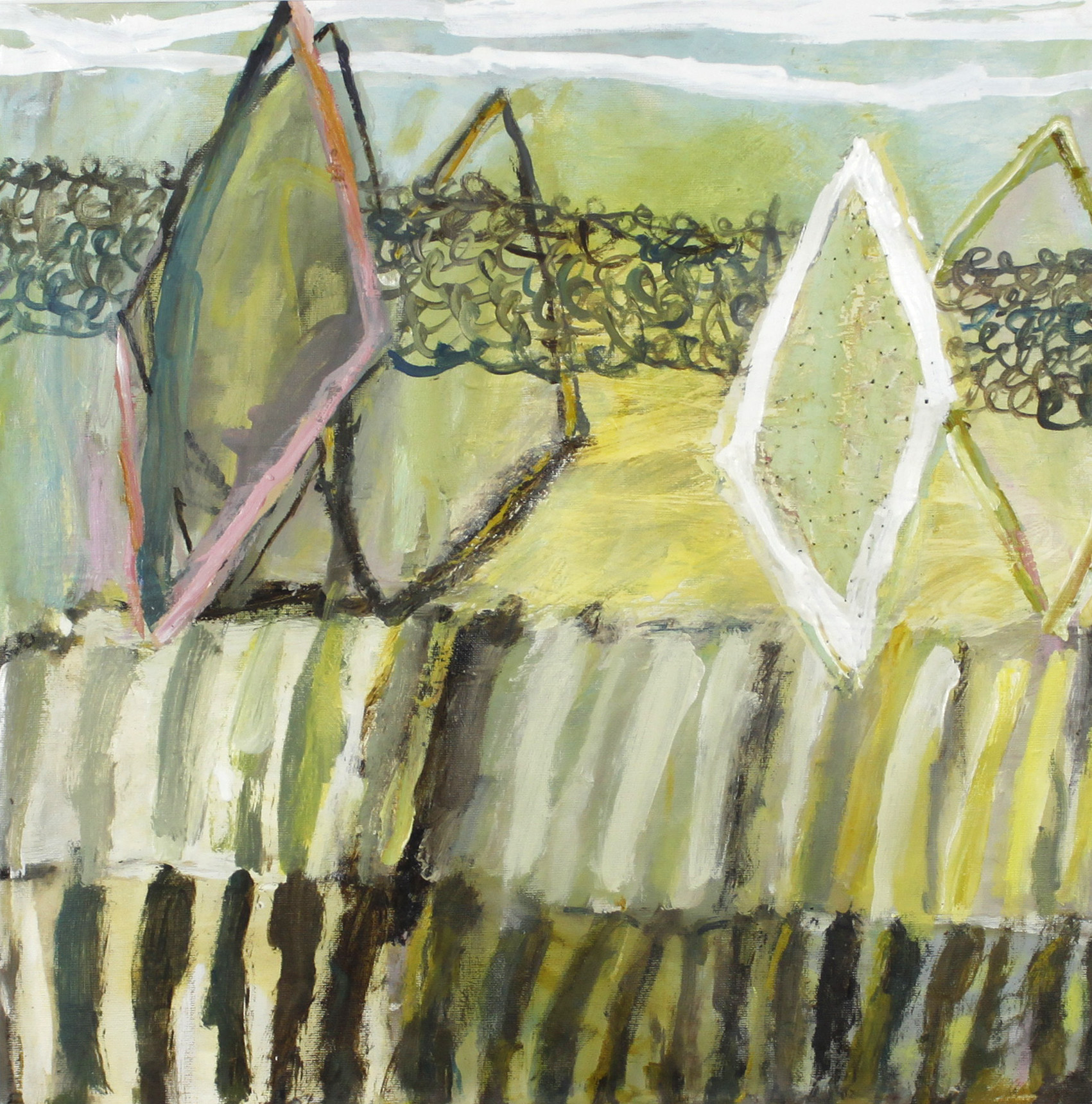 Jaq Davies,  The Kite Flyers , oil and feathers on paper