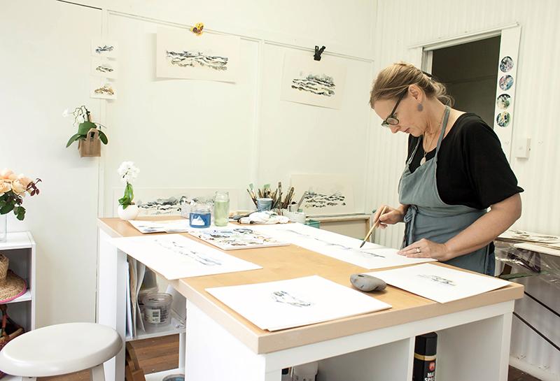 Australian Artist Ingrid Bowen - studio visit - The Corner Store Gallery