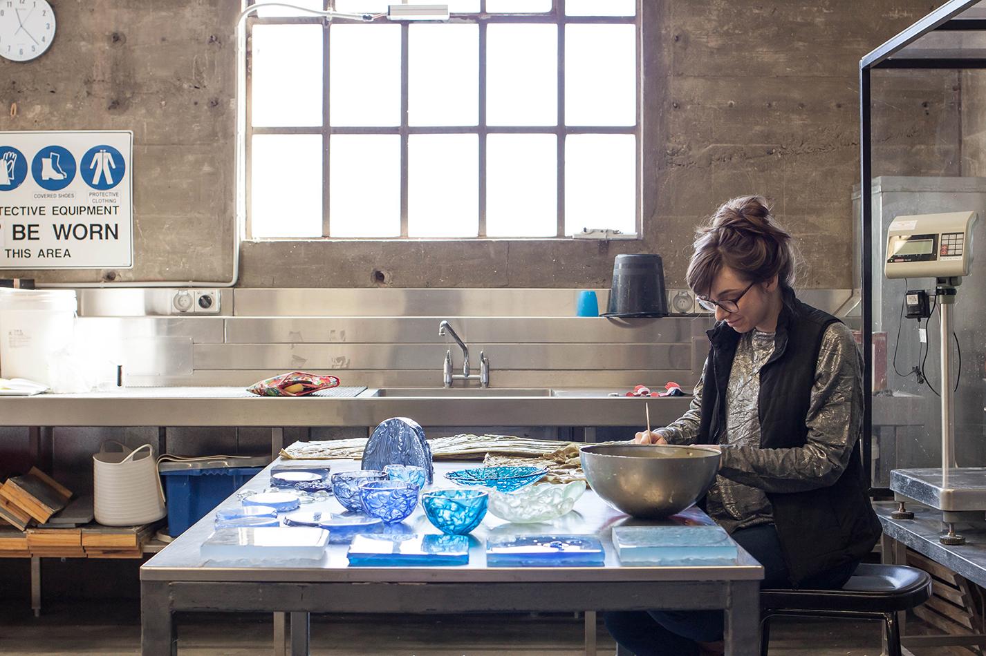The Corner Store Gallery - studio visit with glass artist Alexandra Frasersmith
