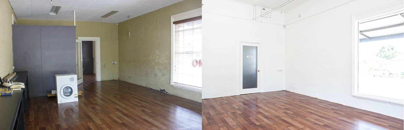 The gallery space, before and after renovations in 2014.