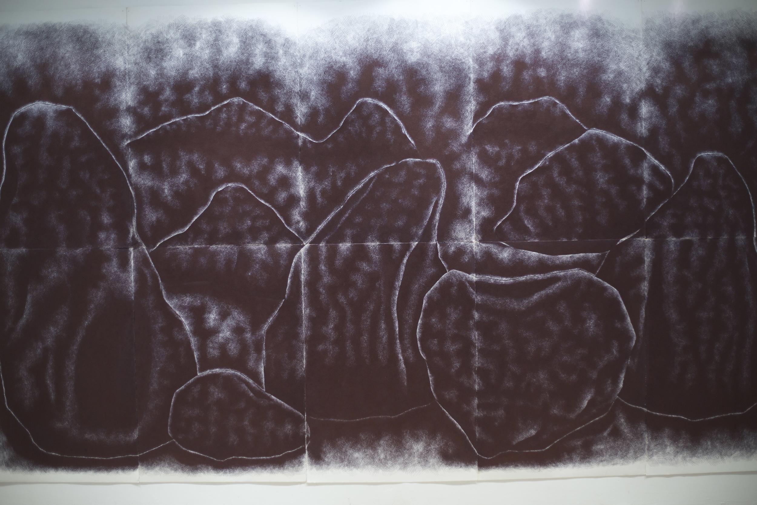 Garden of the Gods , biro on watercolour paper, 3.75m x 2m, 2014