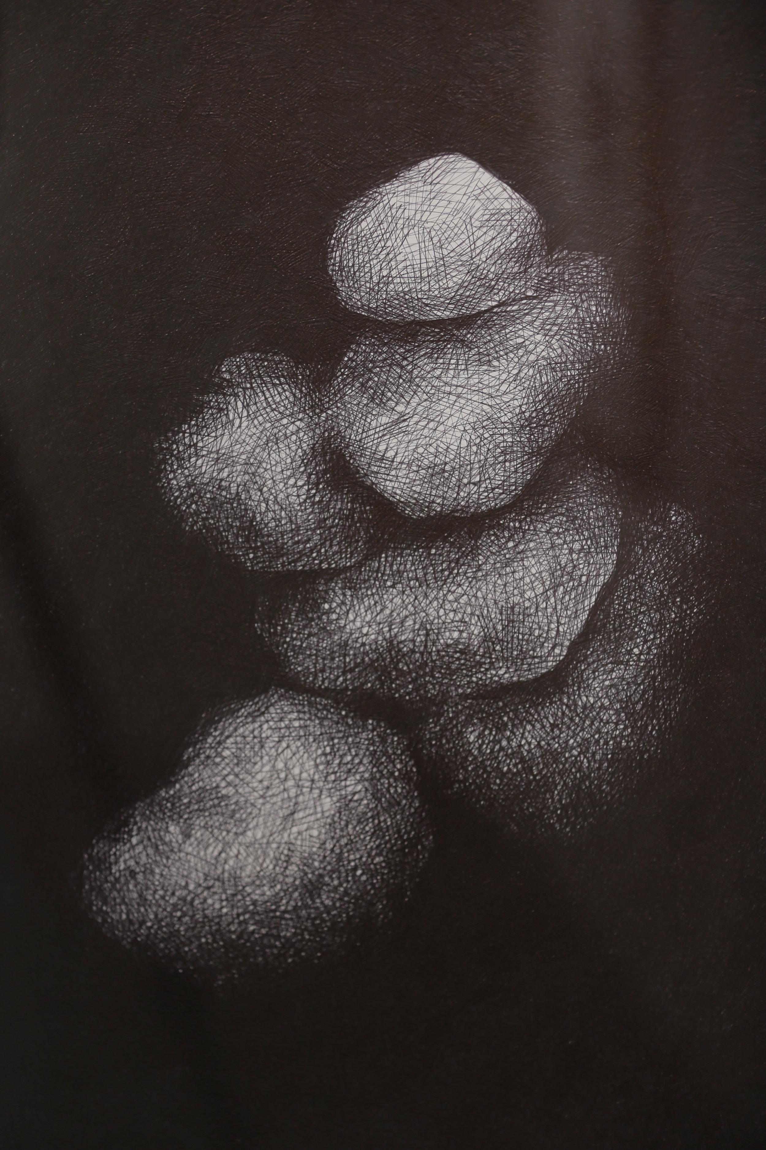 Untitled (detail), biro on watercolour paper, 1m x 75cm, 2016