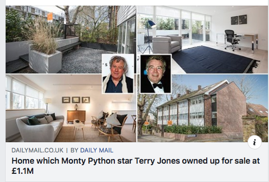Daily Mail Feature, May 2019. https://www.dailymail.co.uk/news/article-7035809/Home-Monty-Python-star-Terry-Jones-sold-actor-Albert-Finney-sale-1-1-million.html