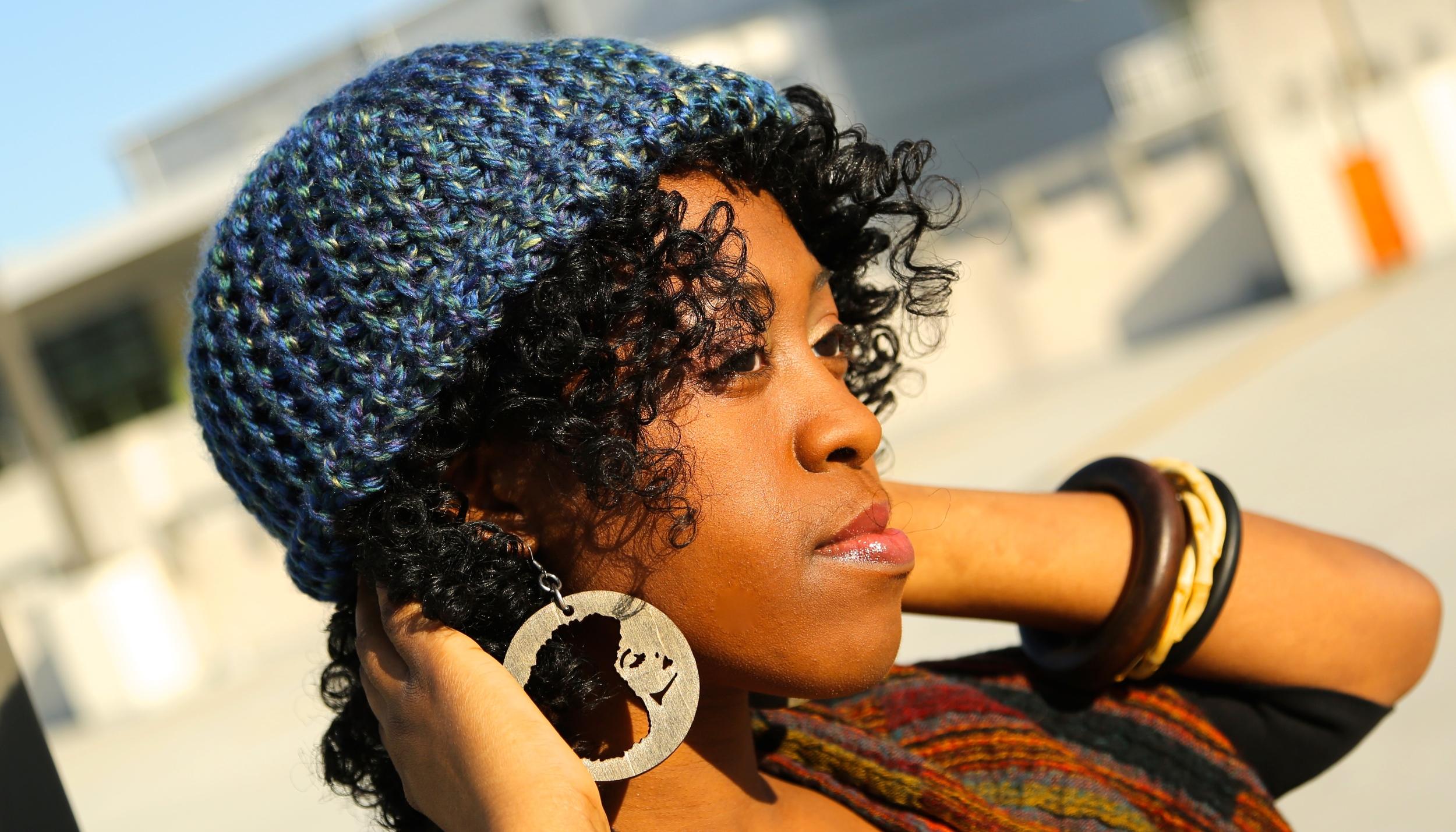 Hat by  KraftyKnits.com , Earrings by Toni Daley, Bone Bracelet by  www.LPieces.com