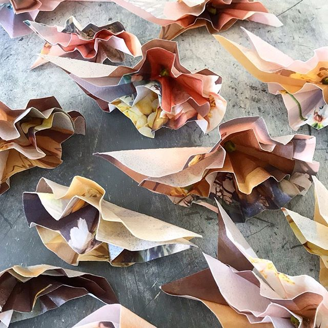 'Golden Hour' origami blooms.  We make all our decorations in house and they are always totally edible.  These are great fun to eat!  Eat Your Art Out.