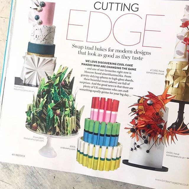 Press!  Thanks so much @brides for the fab 'Cutting Edge' designs feature.  Super happy you consider us one of the 'Cool Cakemakers that are changing the game'. 😊. We're in great company 💕.