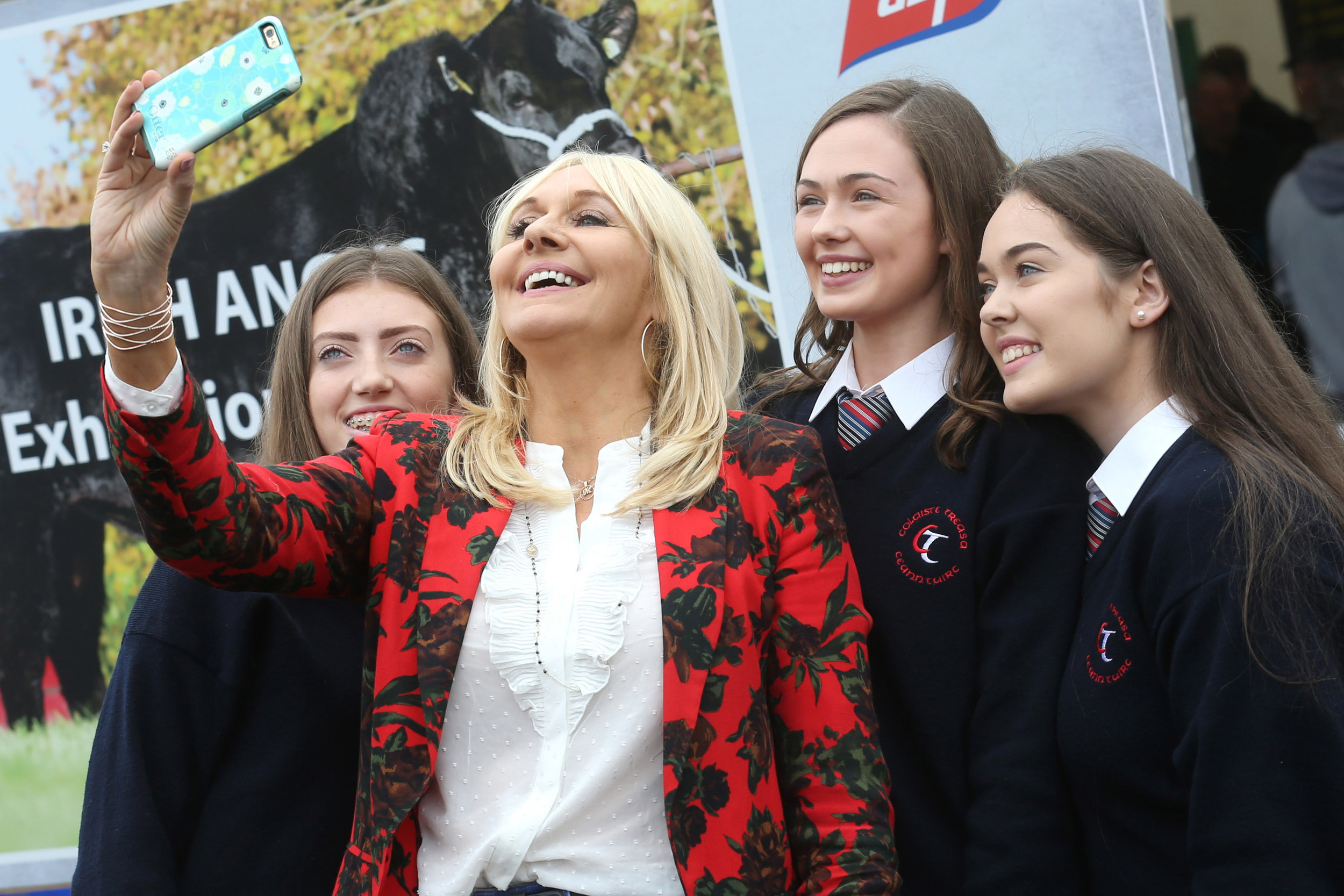 Could this be you?    RTE's Miriam O'Callaghan takes a selfie with Gillian Casey, Maire Moylan and Aine O'Connor from Colaiste Treasa, Kanturk, finalists in the Certified Irish Angus Schools competition, at this year's National Ploughing Championships