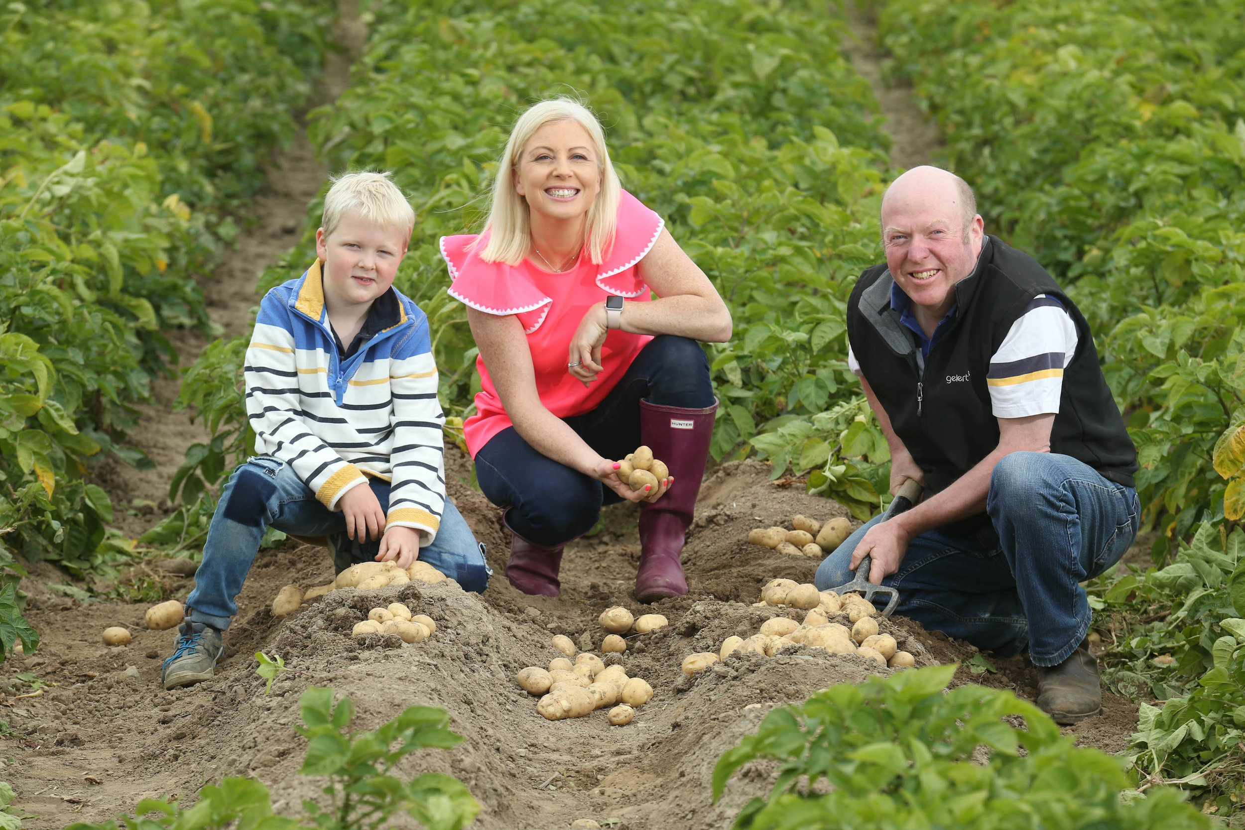 Registered Dietitian and Bord Bia potato ambassador Aoife Hearne with David (8) and Gerard Tuite announcing the arrival of New Season Queen potatoes