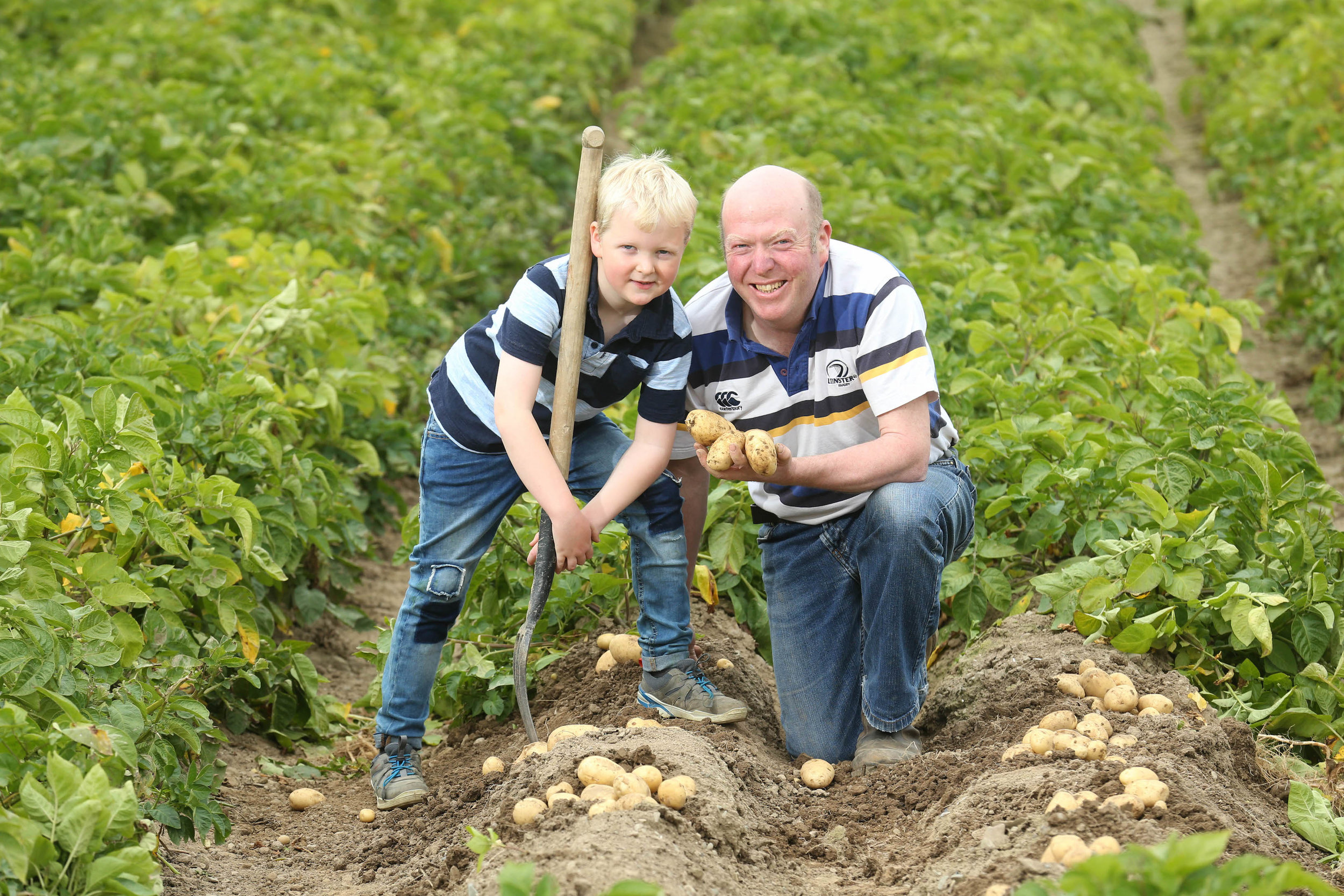 (l-r) David (8) and Gerard Tuite on their family farm in Clogherhead, Co. Louth