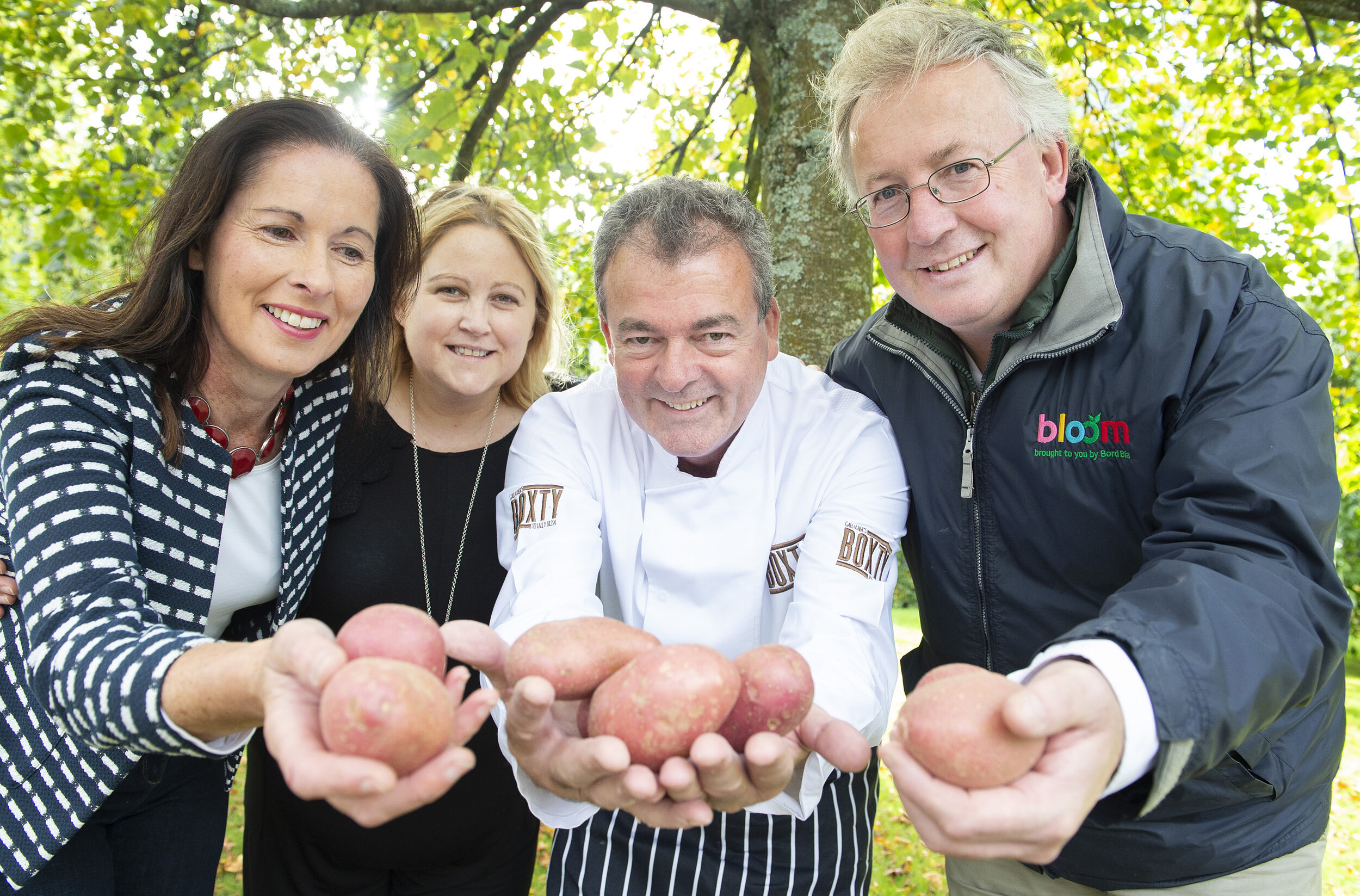 (l-r) Nora Sheehan, Cork-based potato grower, Padraic Og Gallager, proprietor of The Boxty House Templebar, Lorcan Bourke, Fresh produce and potato sector manager, Bord Bia