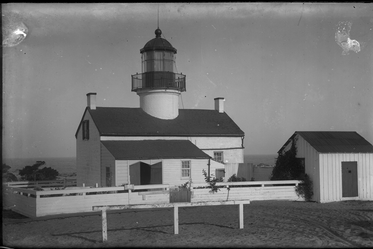 Close-up of whitewashed Point Pinos Lighthouse.