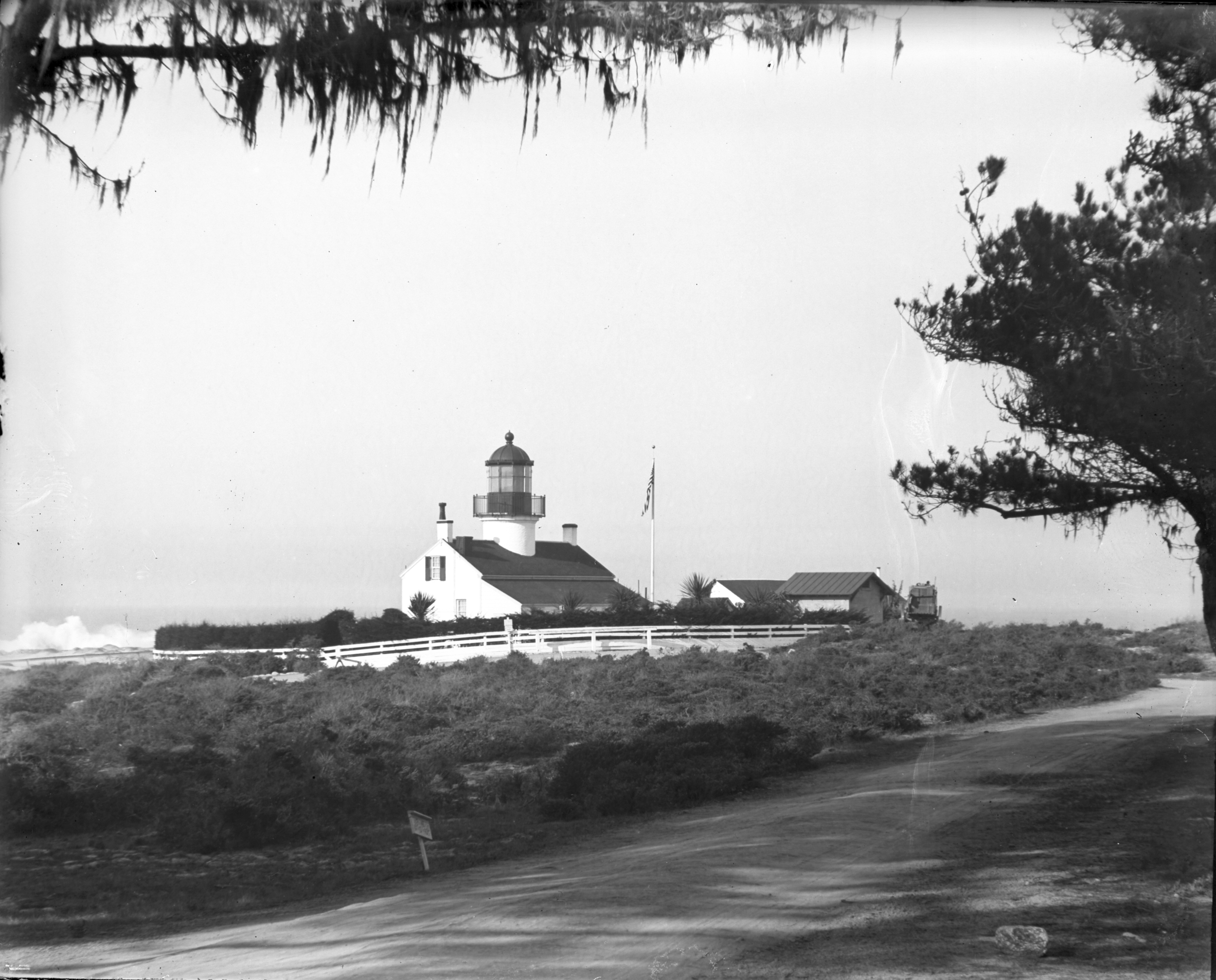 Far shot of Point Pinos Lighthouse from the back gate.
