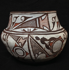 """Unlike the rest of the nearly 375 ethnographic pots in the museum's collection, this vessel is accompanied by a hand-drawn diagram. It's titled """"INDIAN POTTERY SYMBOLS, Interpreted by Pedro de Lemos, 1947."""""""