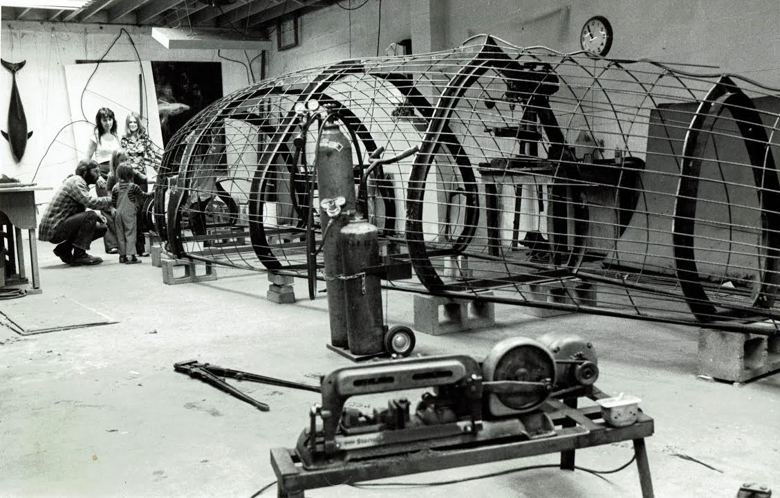 Forty feet fabricated with iron framework in Oakland studio.