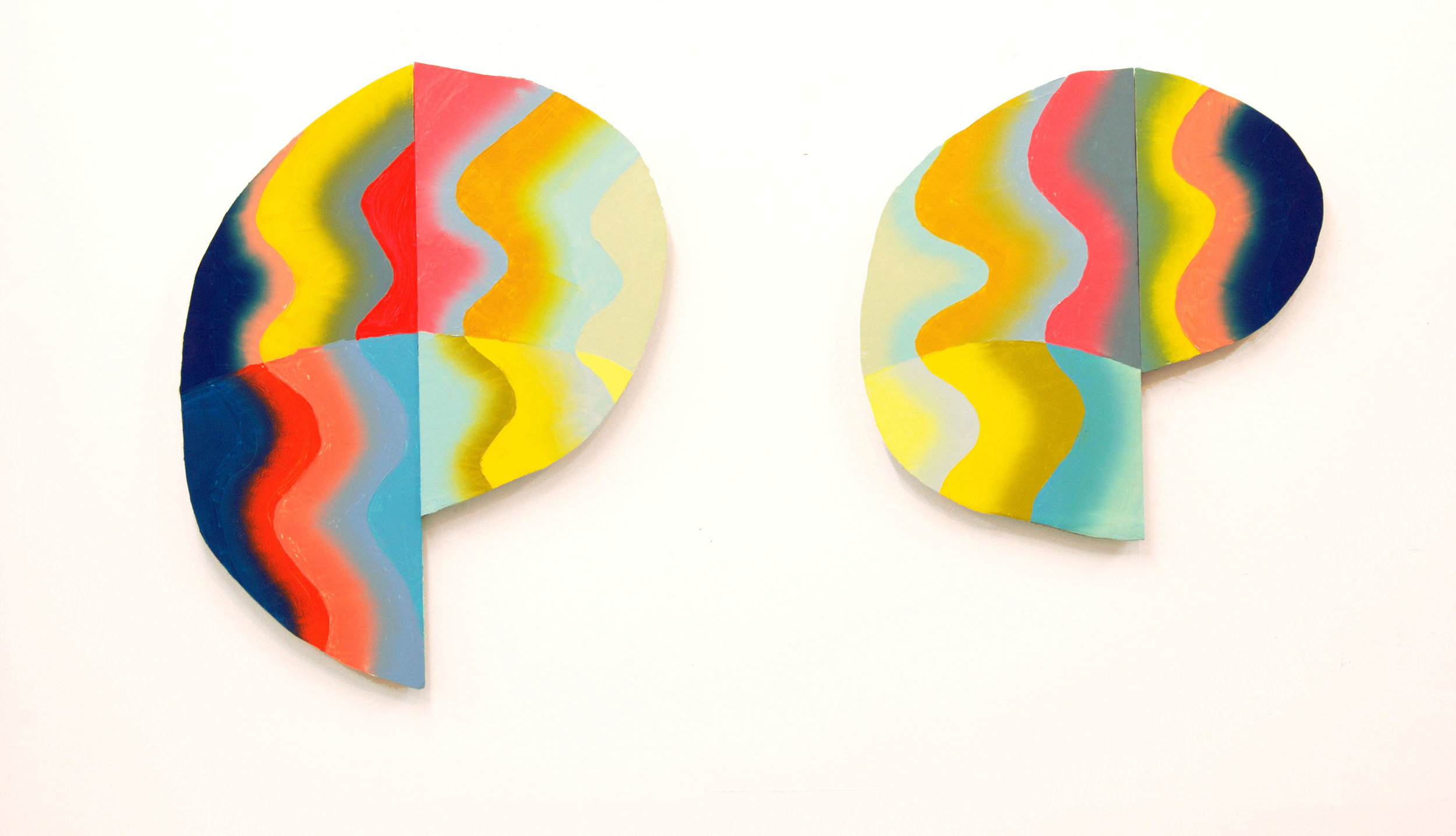 "visual fry, diptych, oil on shaped panels, 26"" x 20"" (L), 20"" x 20"" (R), 2014."