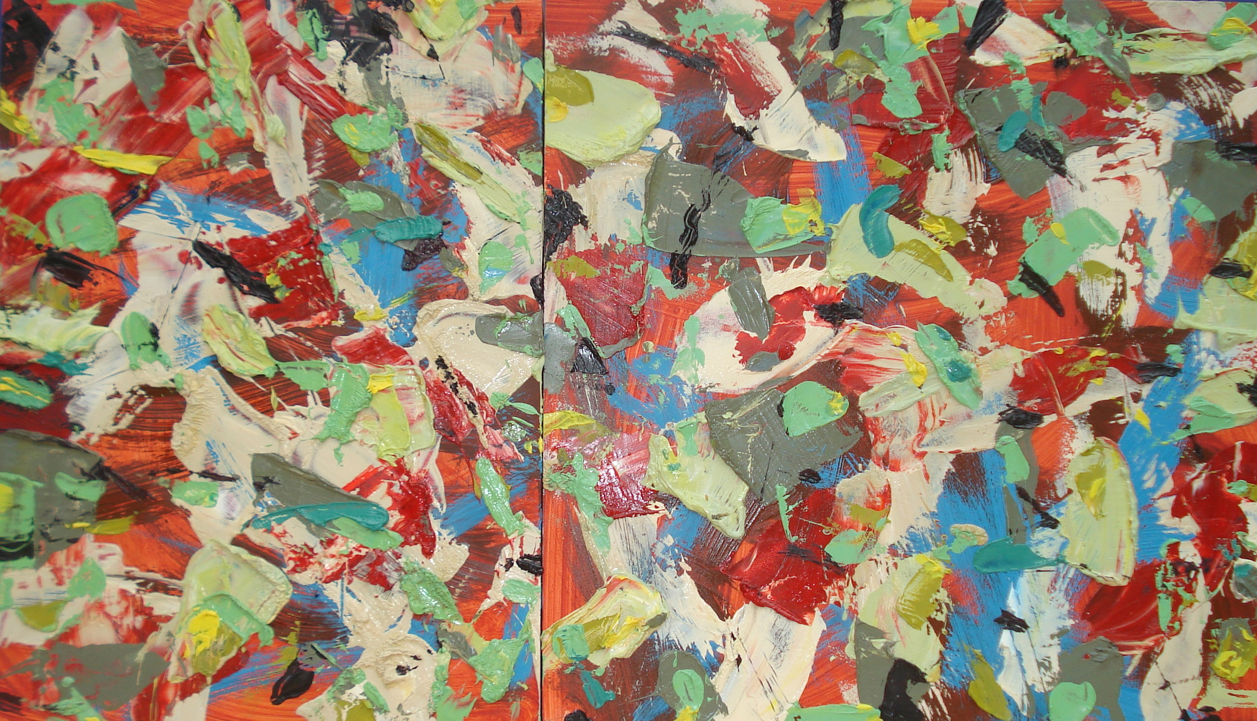 """Small Diptych , oil on panel 12""""H X 21""""W (2013)"""