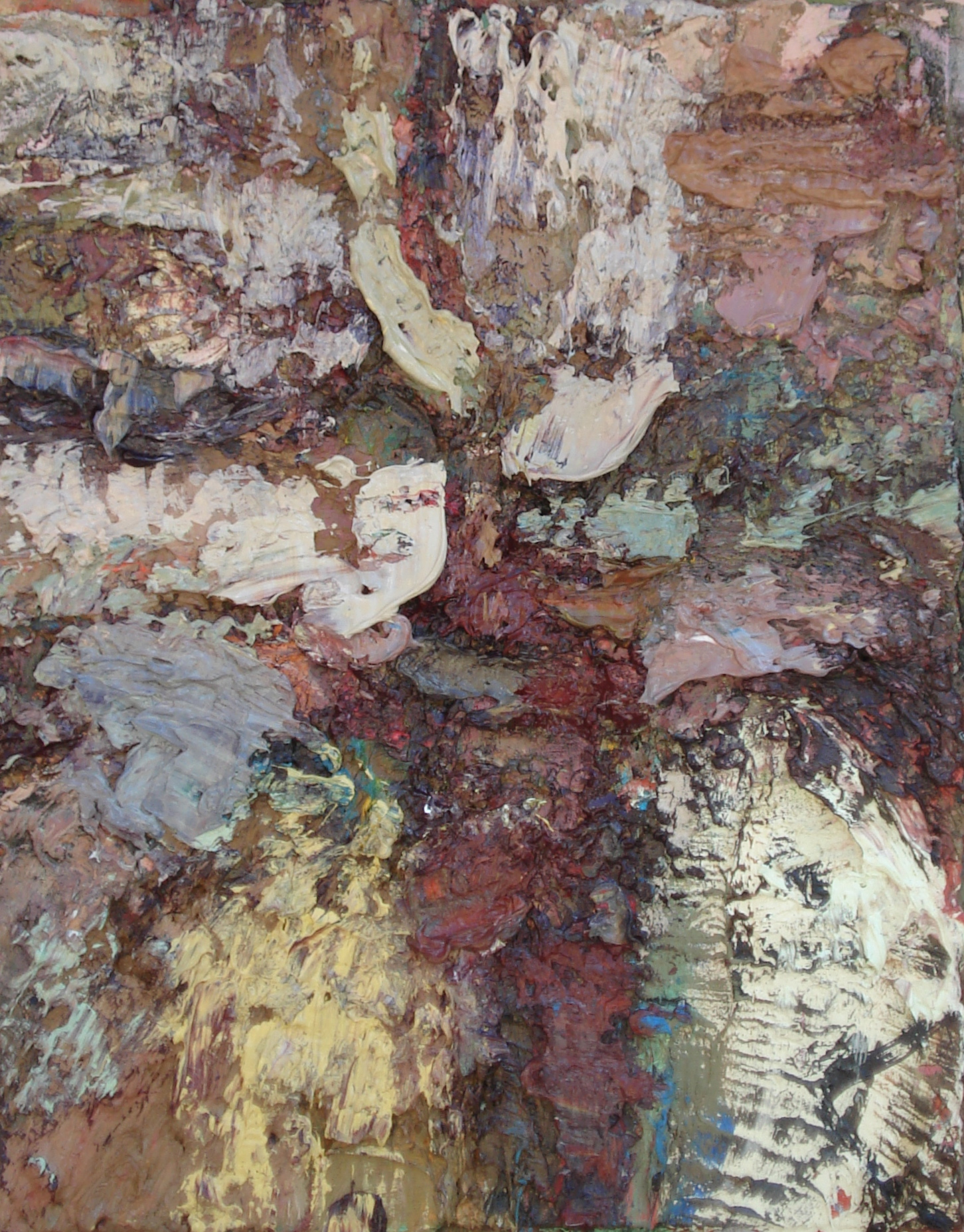 """Sedimentary Rock Formation  oil on paper, 16""""H X 12""""W, 2014"""