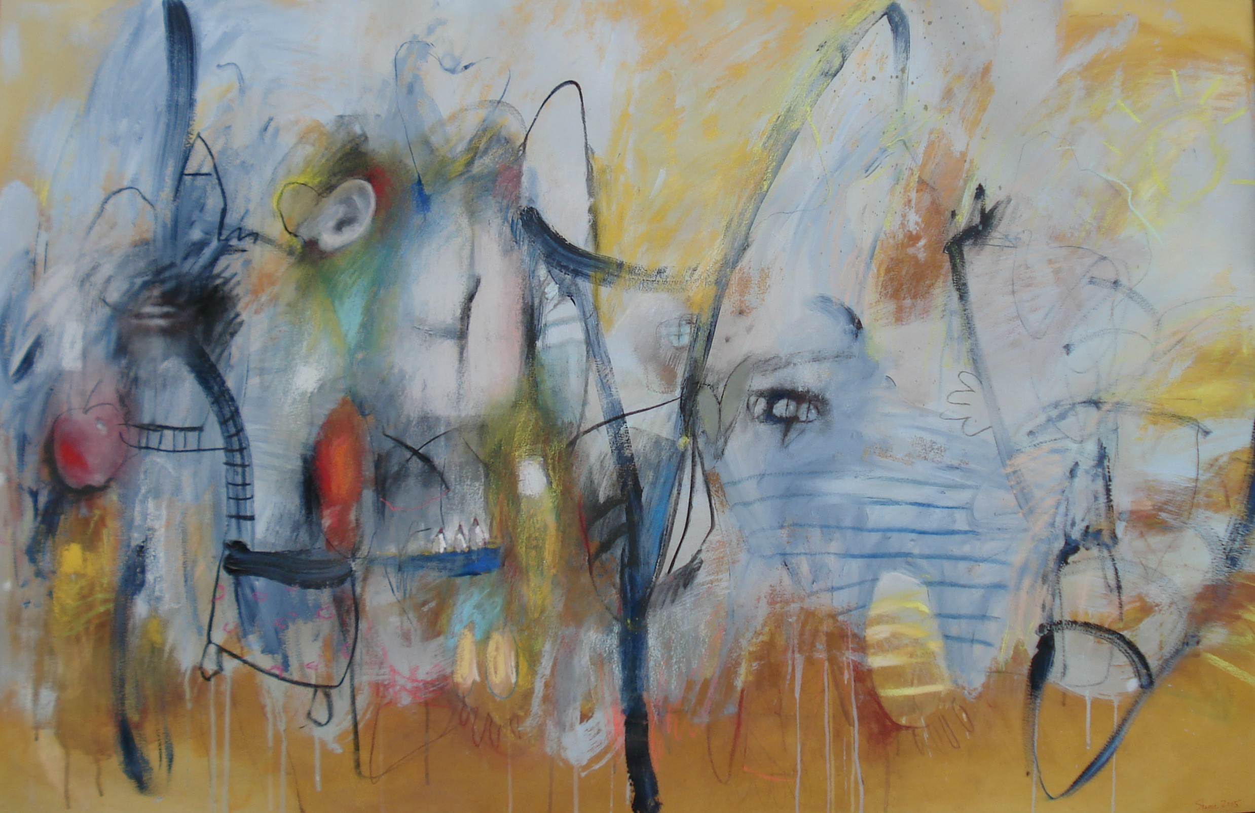 """Dialogue , mixed media 45""""H X 68""""W, 2005 Private Collection"""