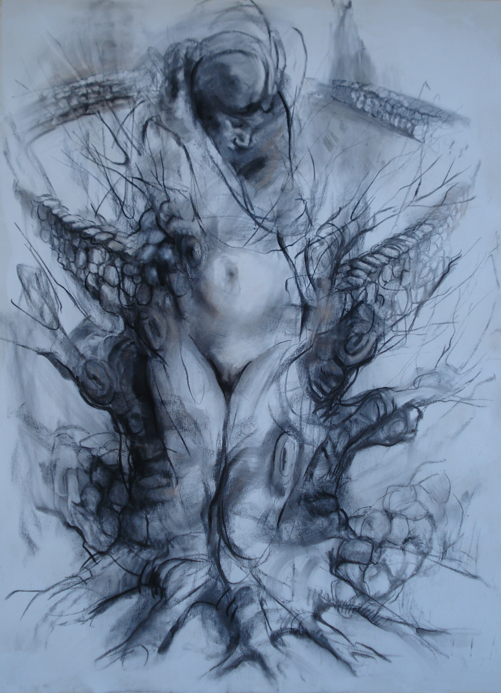 """Dominion,  charcoal and pastel 60""""H X46""""W, 2012 Human Rights Collection, South Texas College"""