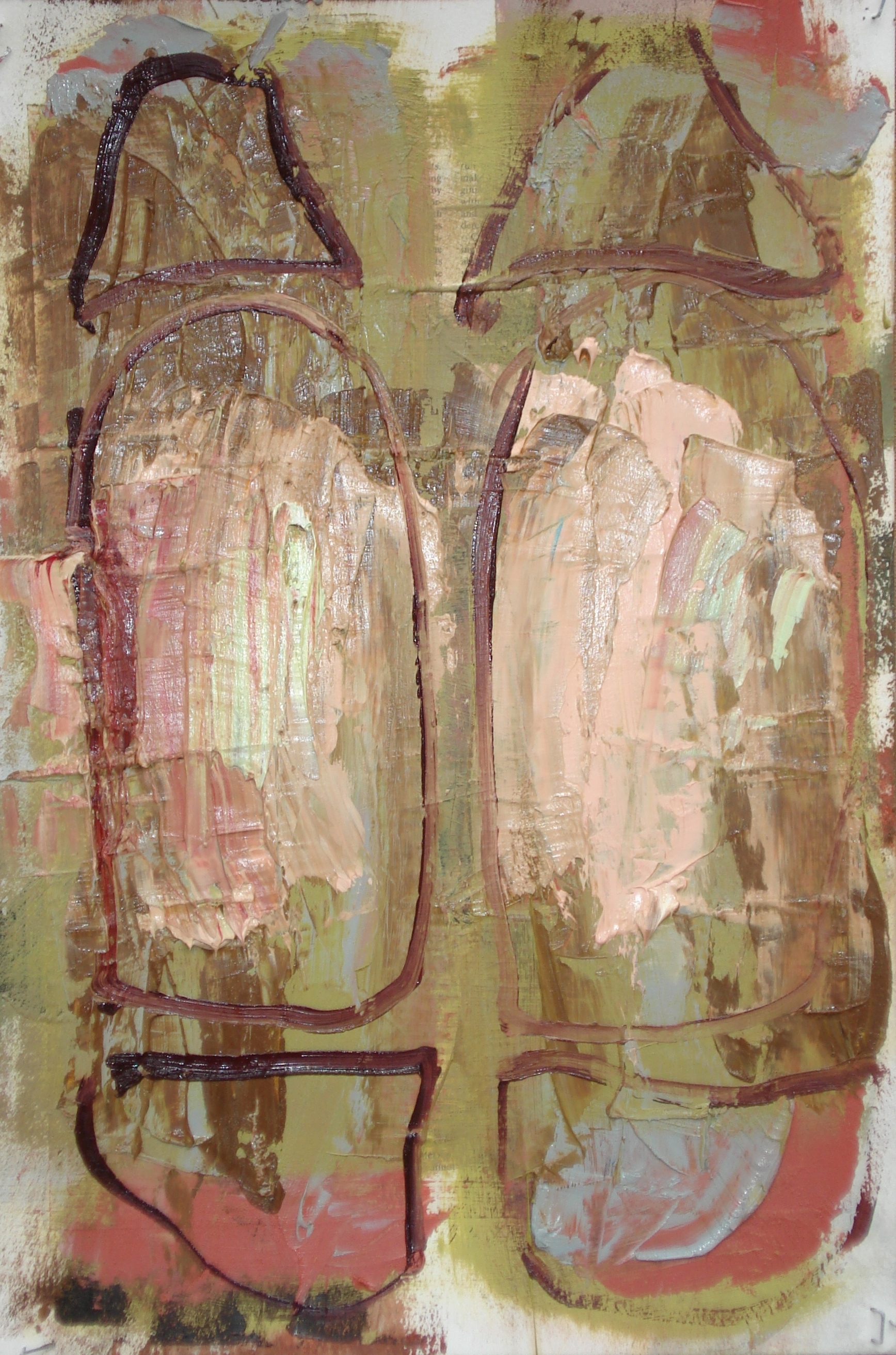 """Reading Lesson No. 2  oil and collage on paper, 18""""H X 12""""W (2014)"""