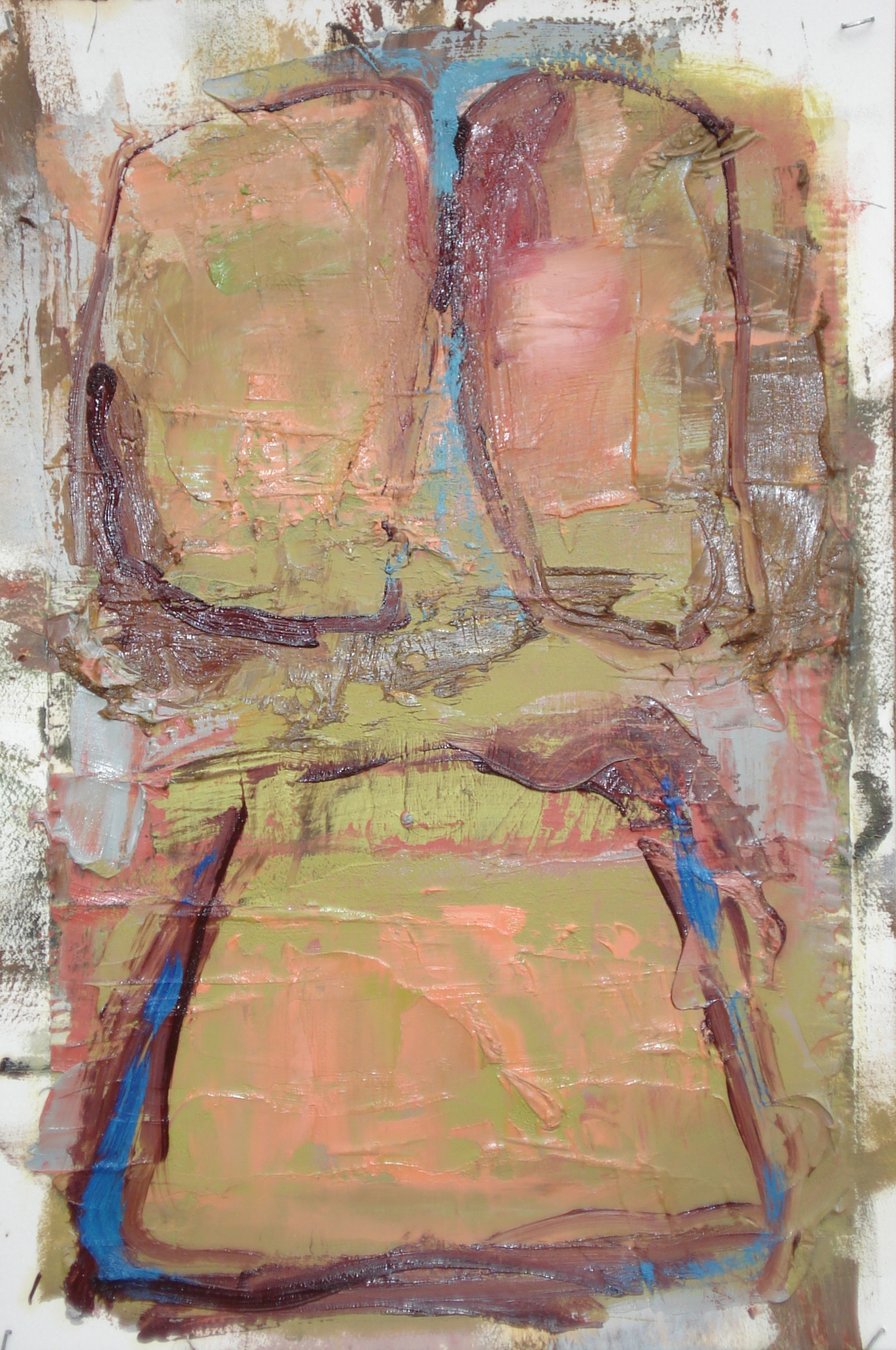 """Reading Lesson No. 8  oil and collage on paper, 18""""H X 12""""W (2014)"""