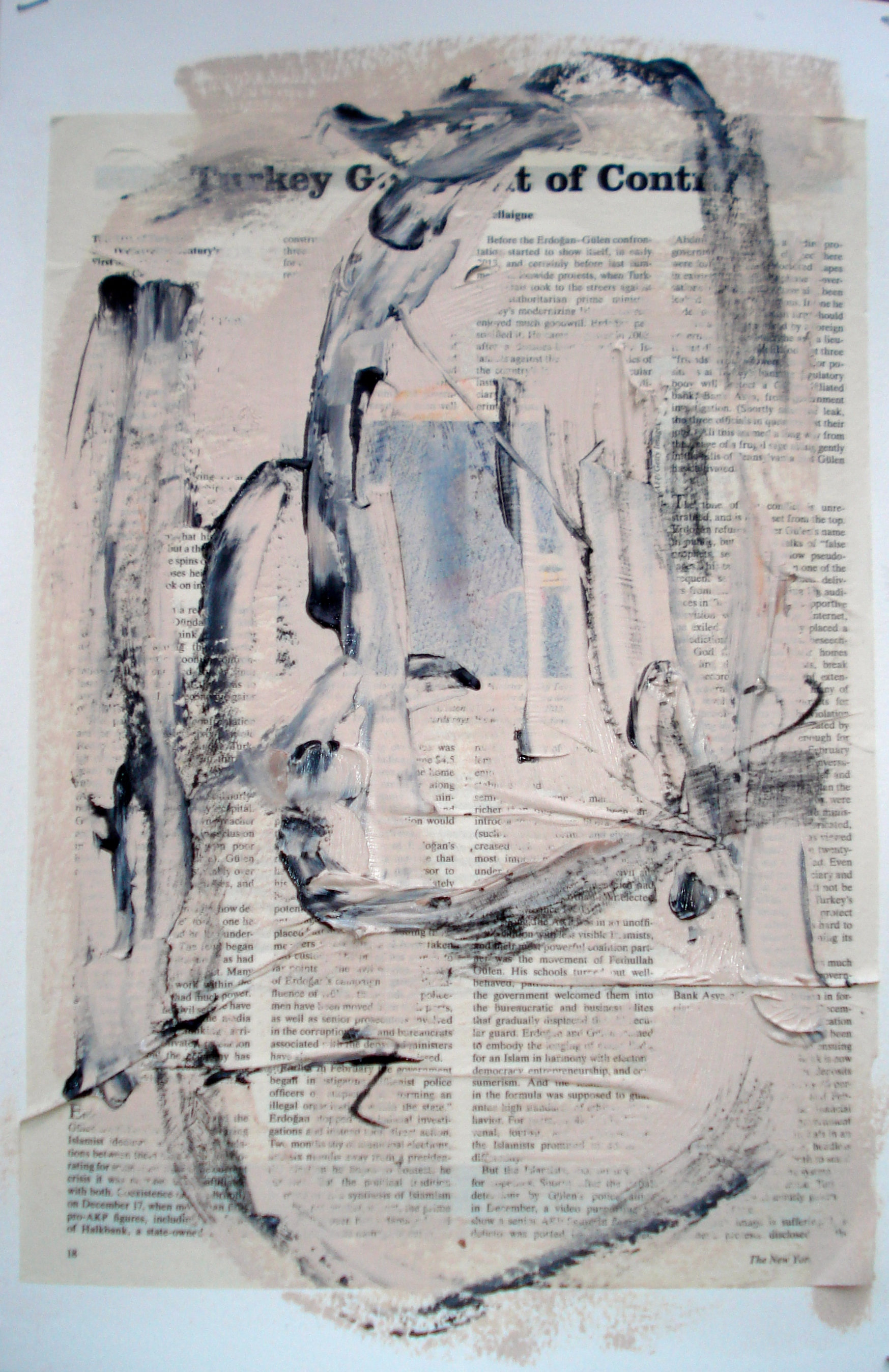 """Reading Lesson No. 10 (Turkey)  Oil on paper with collage 18""""H X 12""""W (2014)"""