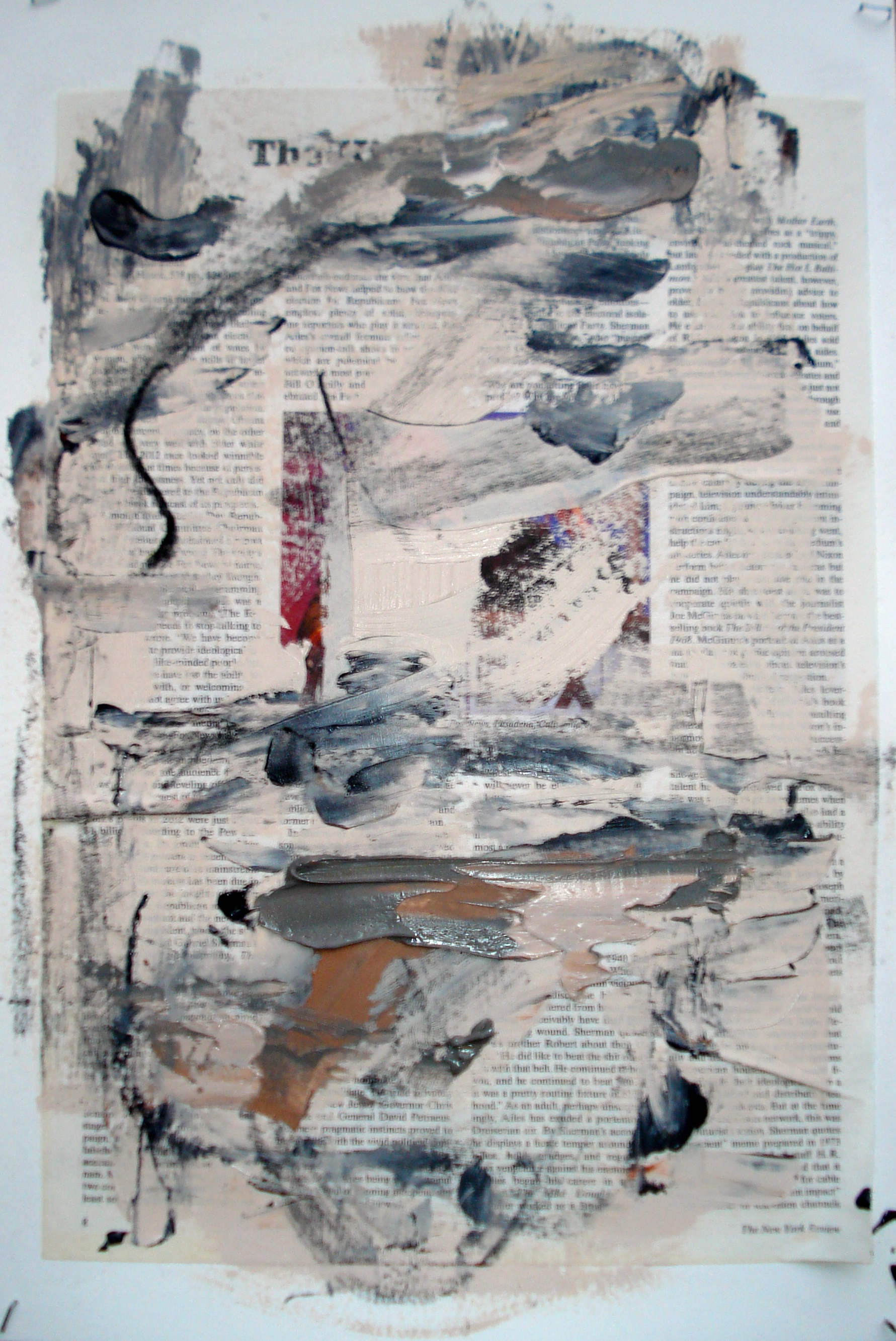 """Reading lesson No. 11 (Red)  Oil on paper with collage 18""""H X 12""""W (2014)"""
