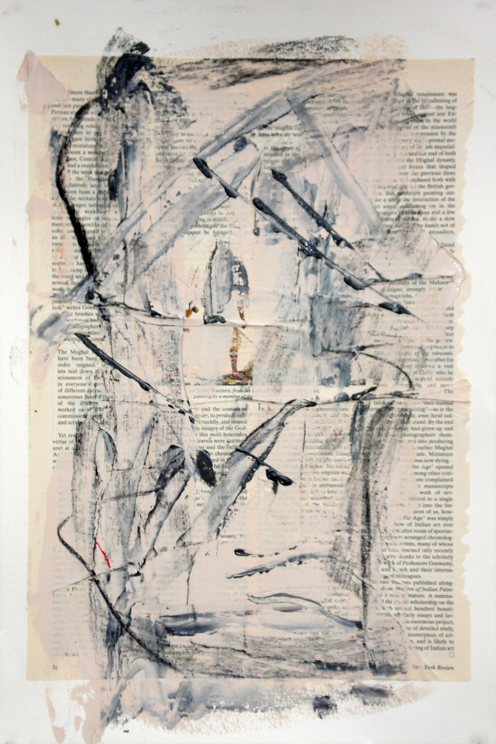 """Reading Lesson No. 14 (Legs)  oil and collage on paper 18""""H X 12""""W (2014)"""