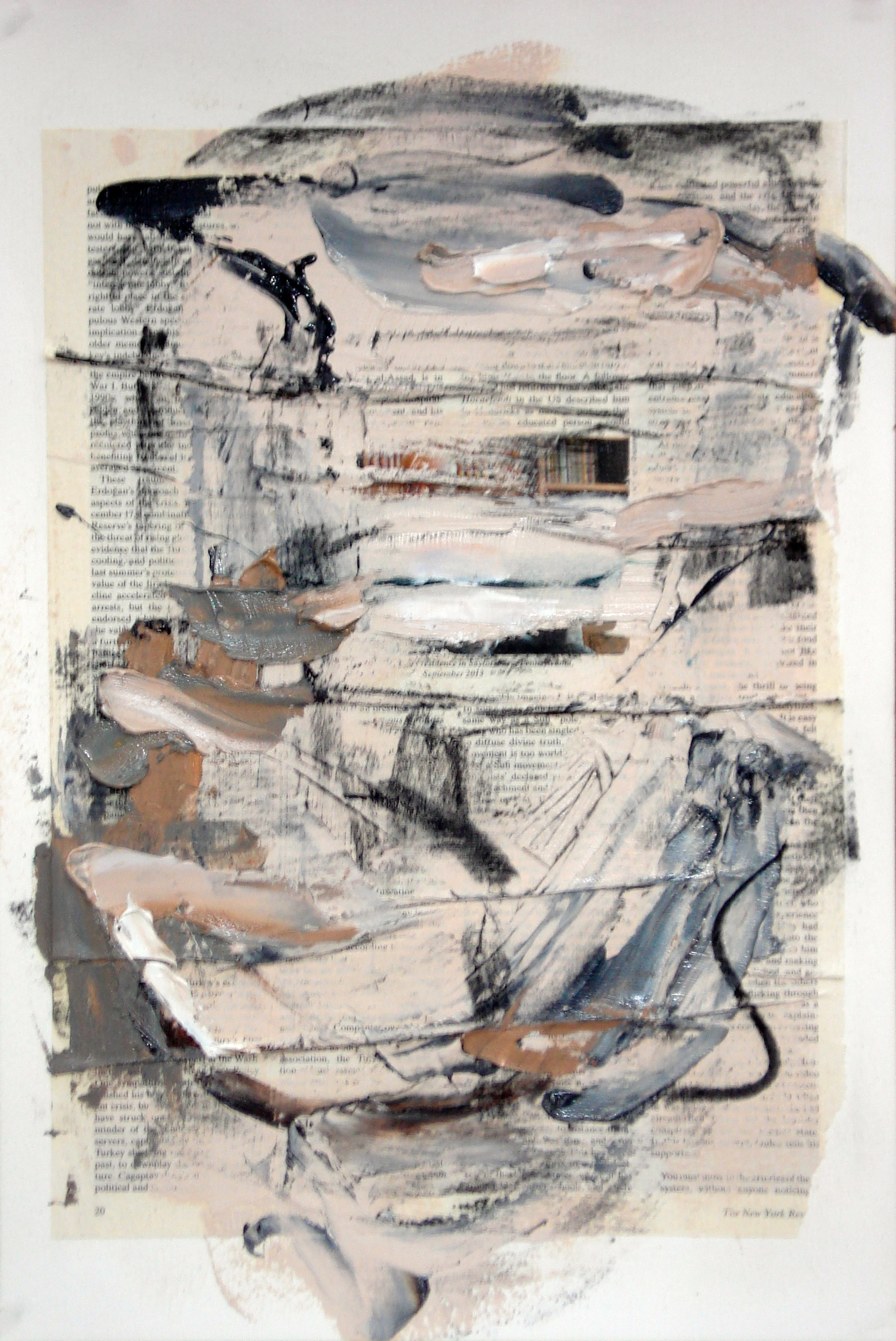 """Reading Lesson No.16 (Missing Corner)  oil and collage on paper 18""""H X 12""""W (2014)"""
