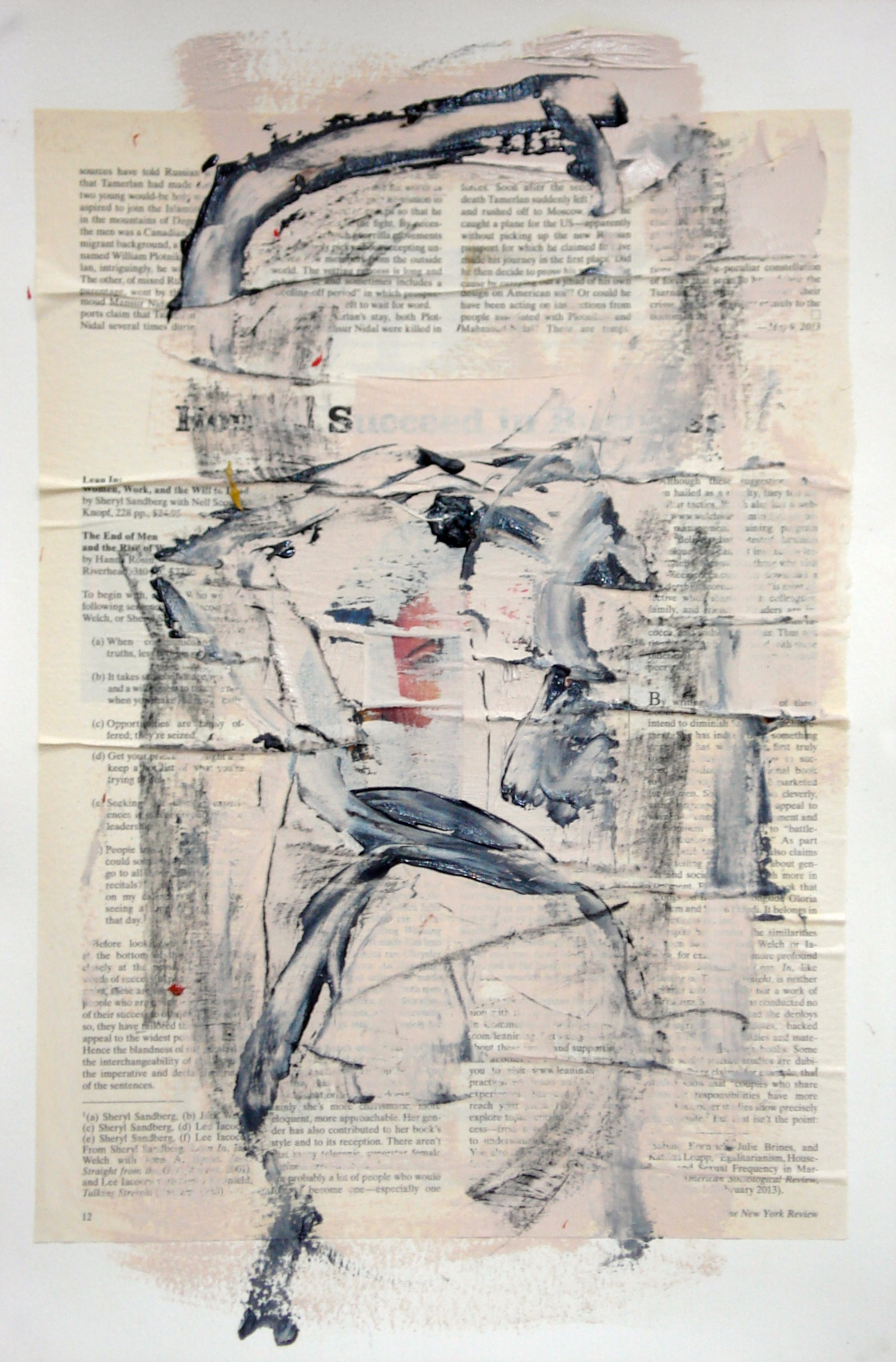 """Reading Lesson No.13 (Succeed)  oil and collage on paper 18""""H X 12""""W (2014)"""