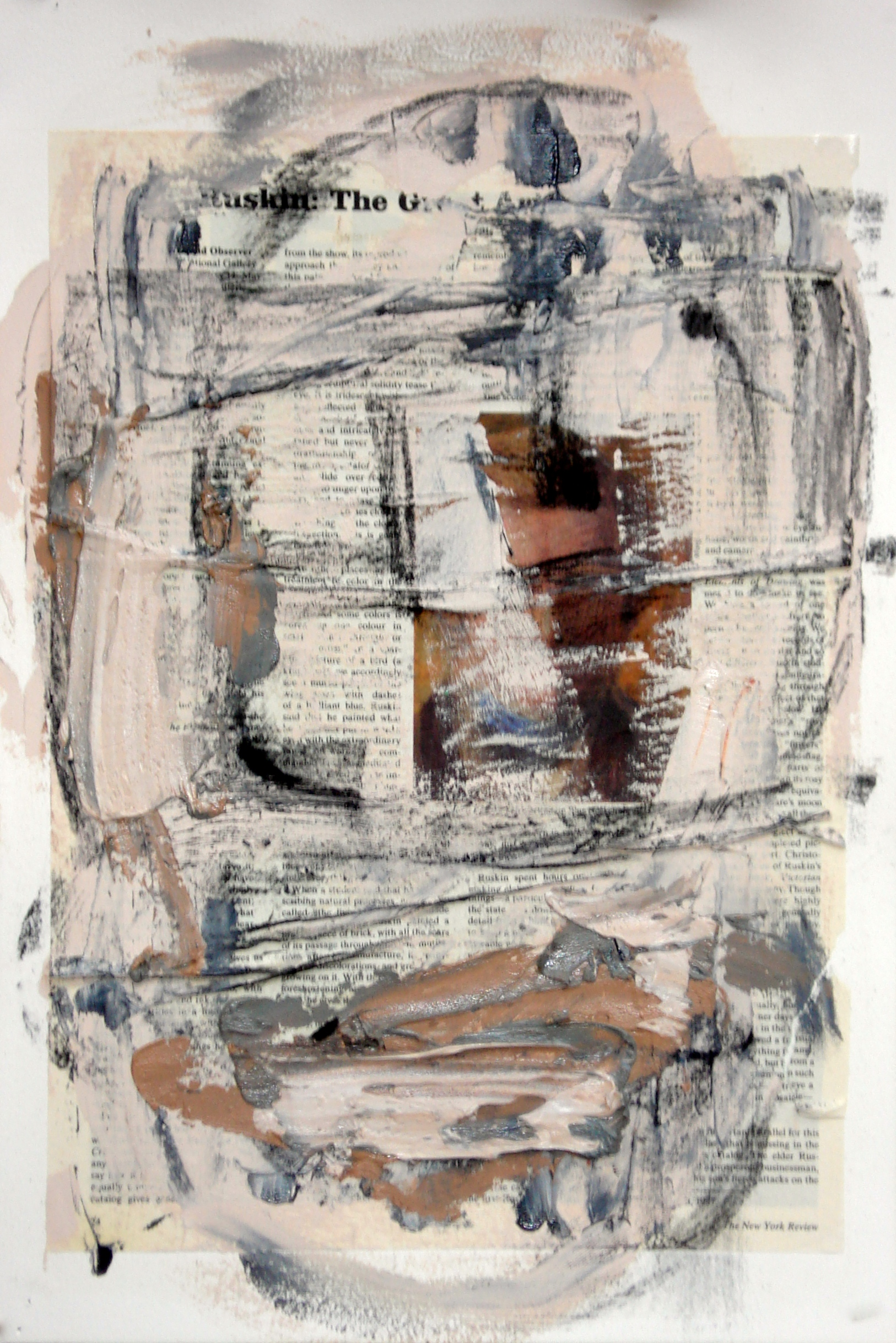 """Reading Lesson No. 15 (Ruskin)  oil and collage on paper 18""""H X12""""W (2015)"""