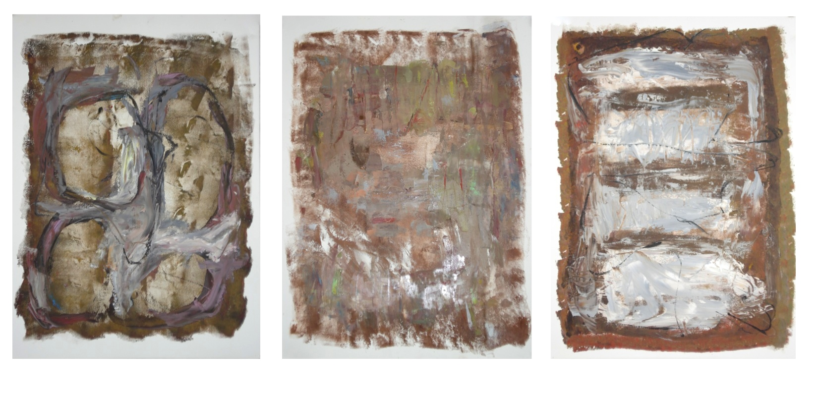 """Three Works on Paper  oil on paper, each 30""""H X 22"""" (2015)"""
