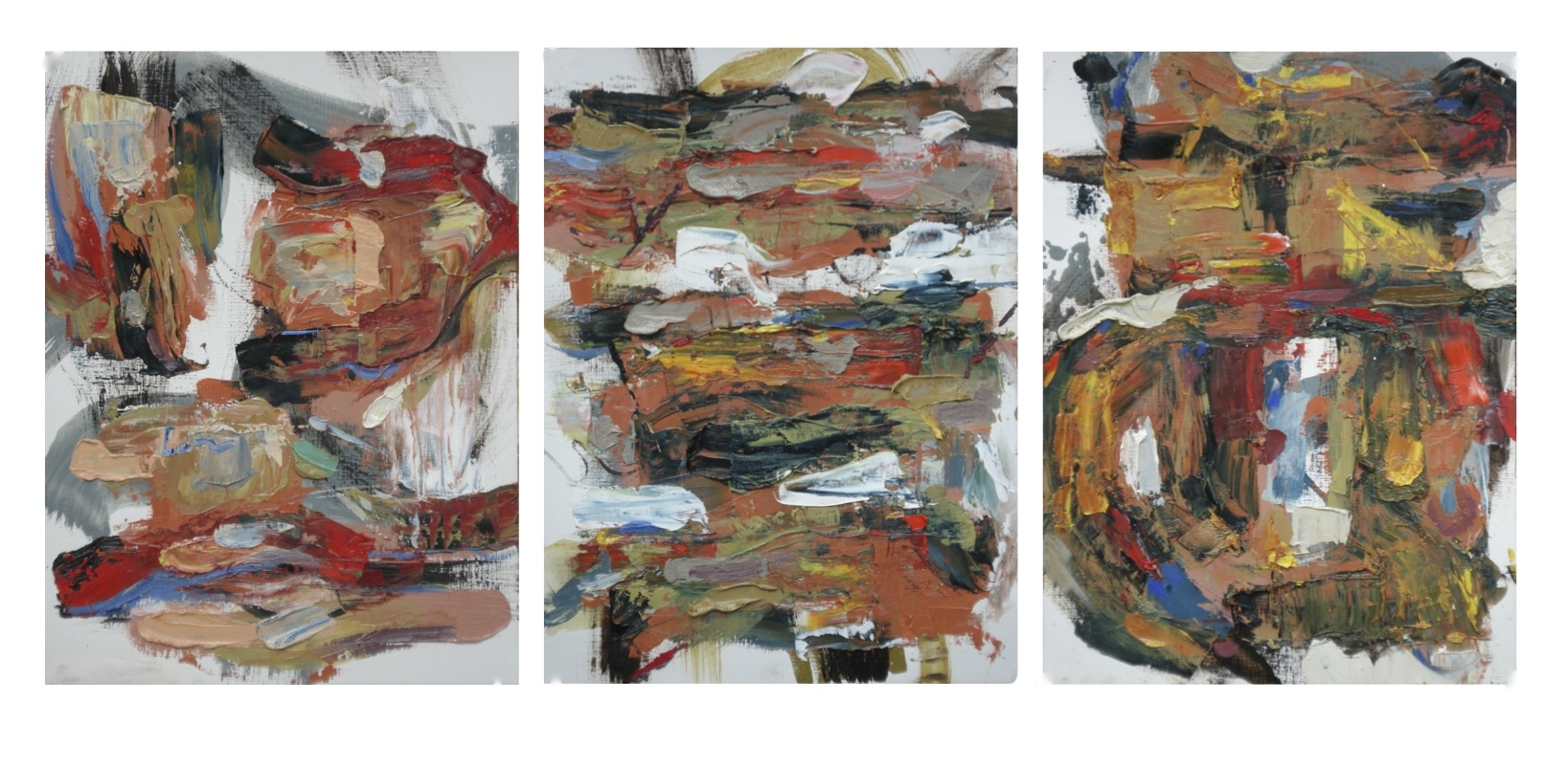"""Pittsburg Series No. 5,6 & 7 oil on paper, each image 16"""" H x12""""W (2014)"""