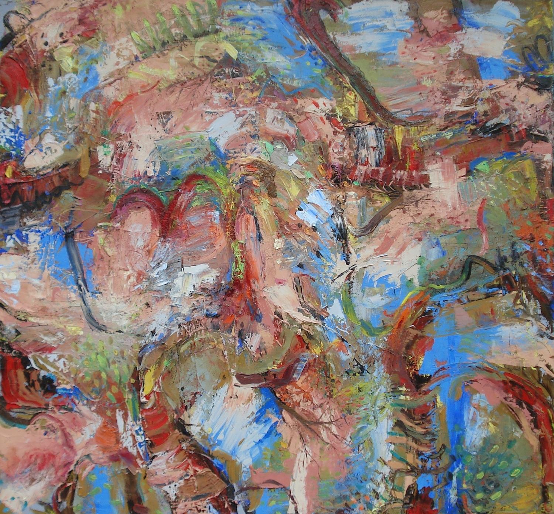 "Underneath the Peach Trees  oil on canvas, 56""H X 60""W (2015)"