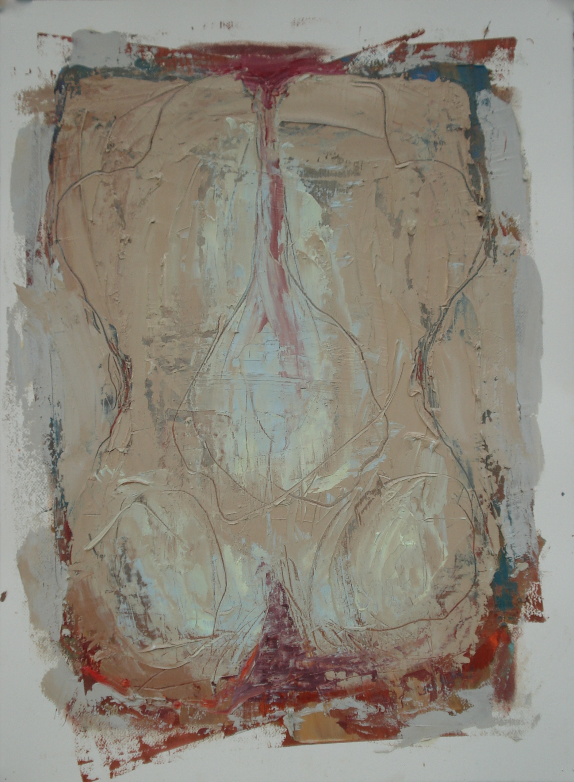 """Body of Work Series (Buttocks)  oil on paper, 30""""H X 22""""W (2015)"""
