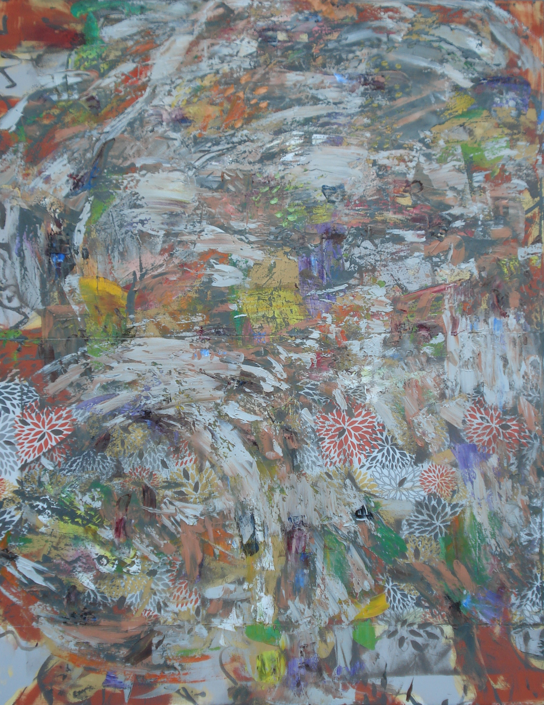"""Garden Party,  oil on canvas 62""""H X 48""""W (2015)"""