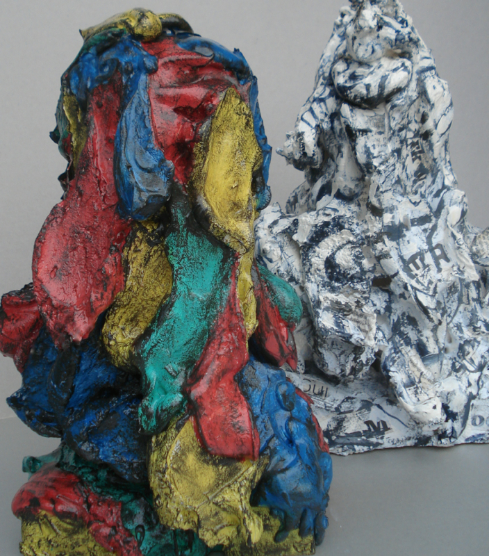 """Color and Form,  painted plaster 12""""H X 6""""W X 7.5""""L (2017) Private collection"""