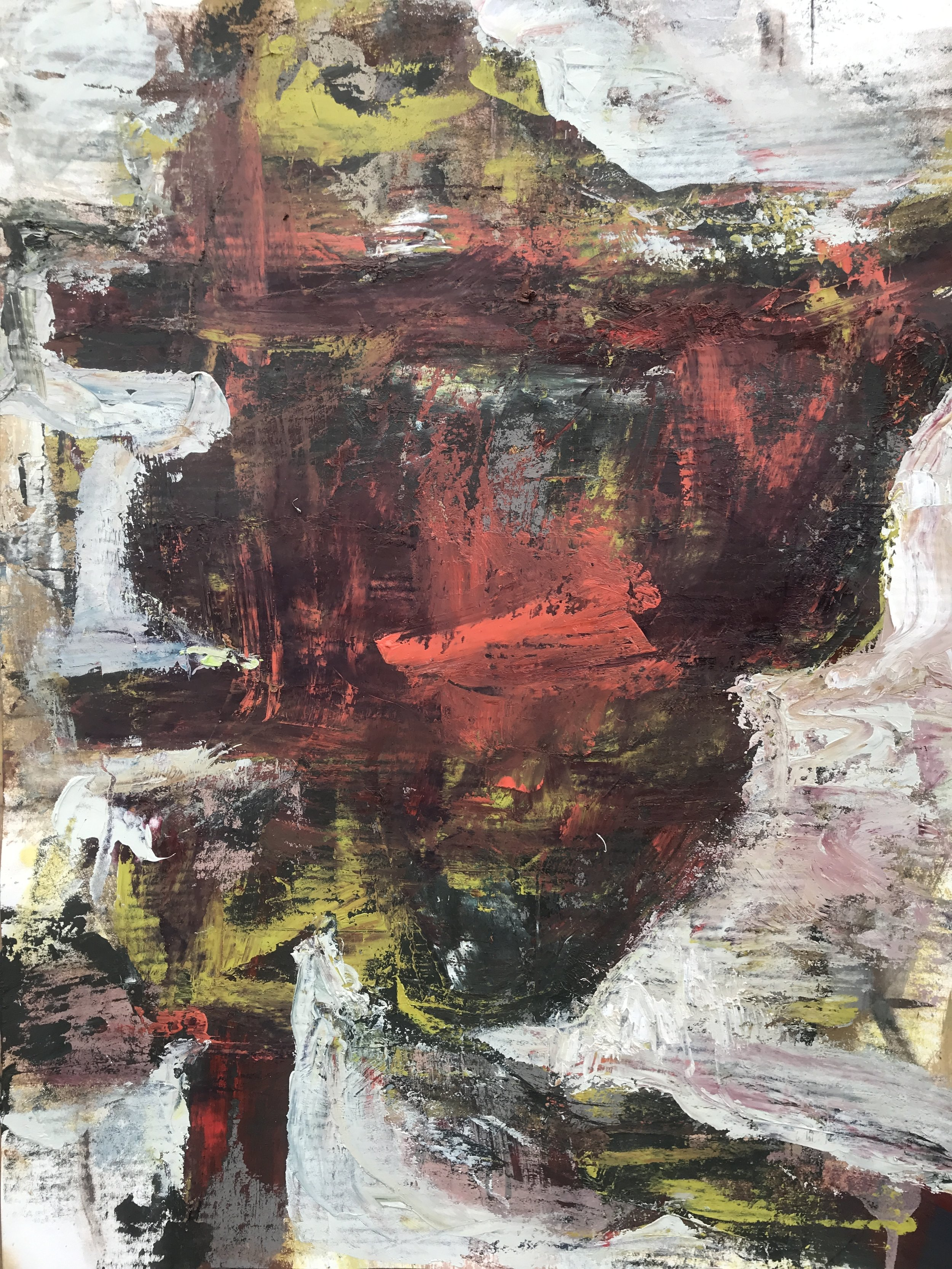 """Small Painting 37C,  oil on Evolon paper 30""""H X 22""""W (2018)"""